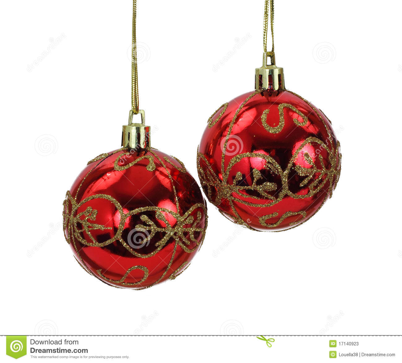 Christmas Tree Balls.Hanging Red And Gold Christmas Tree Balls Stock Image