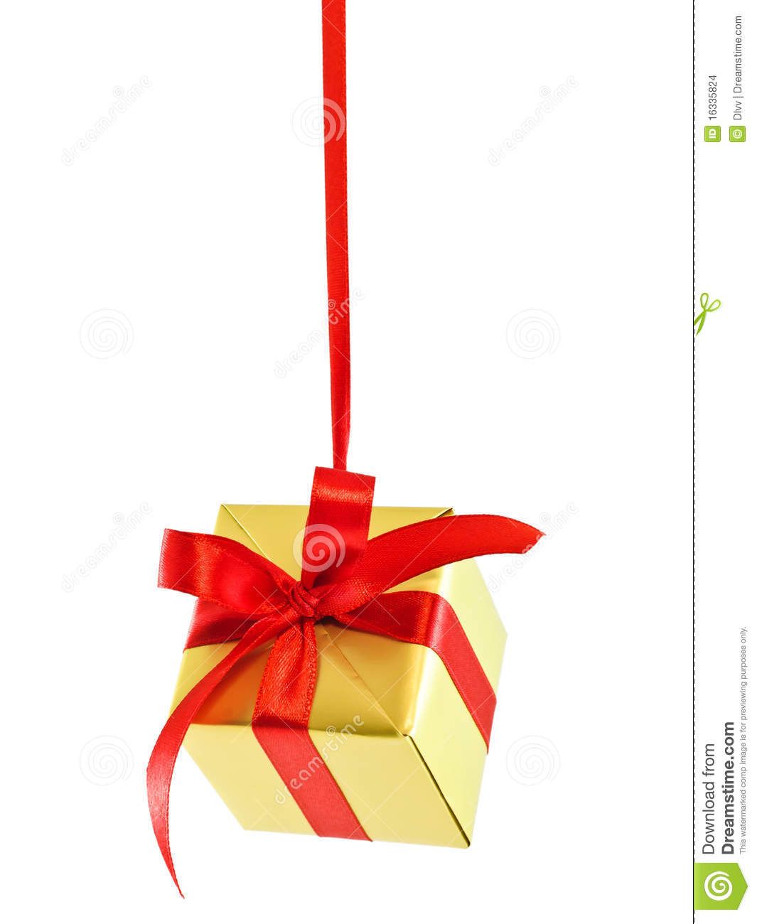 Hanging Wall Decor With Ribbon : Hanging on a ribbon gift box stock photo image of