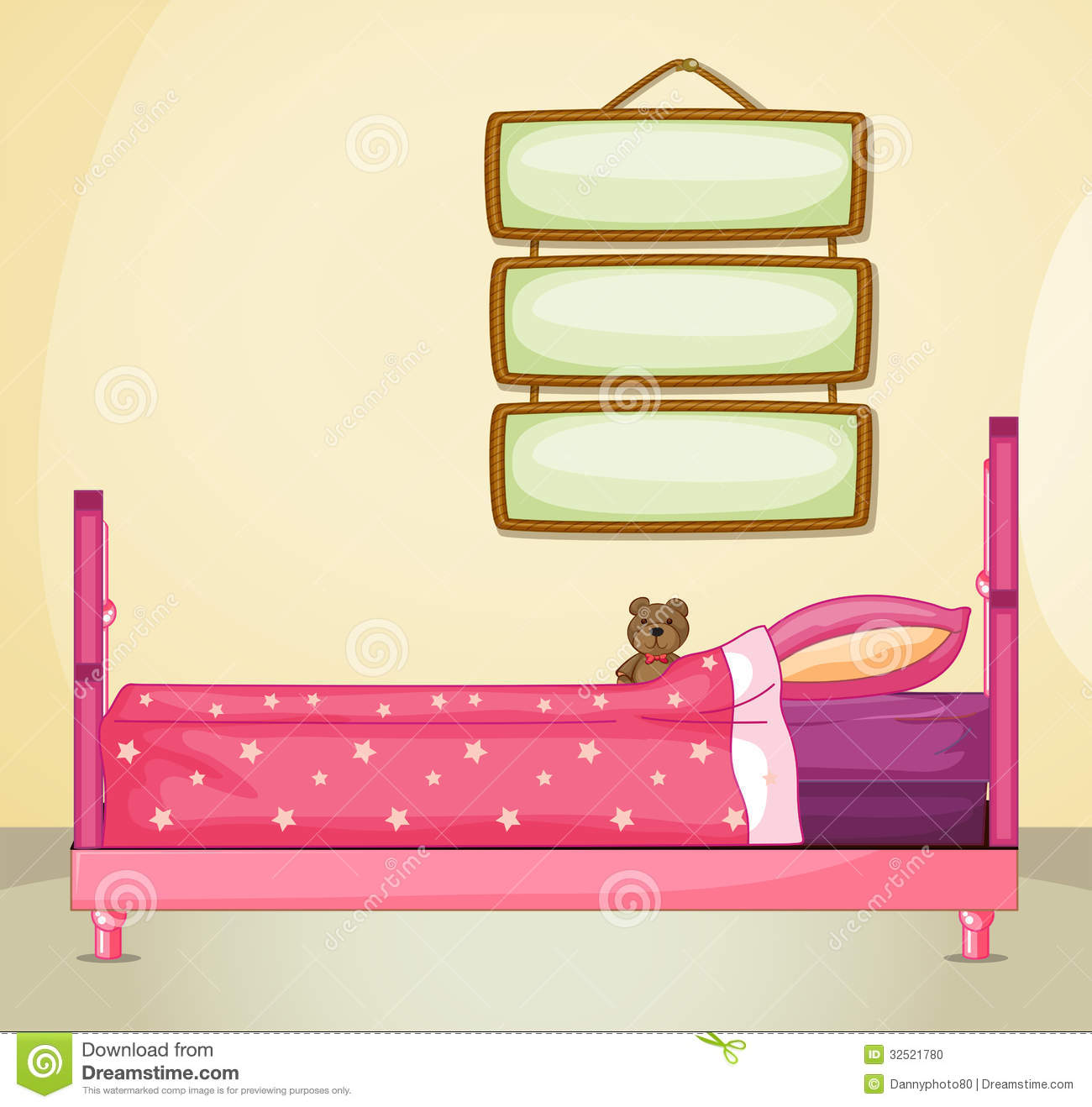 Hanging Signboards Inside A Room With A Pink Bed Stock ...