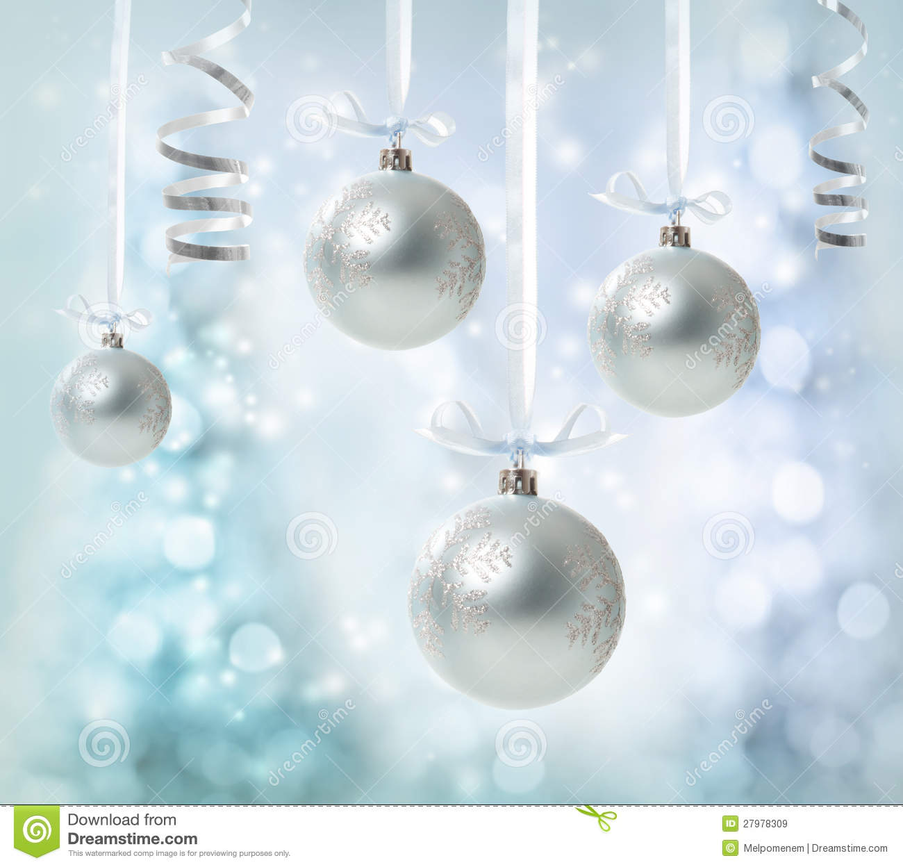 Hanging Silver Christmas Ornaments Royalty Free Stock