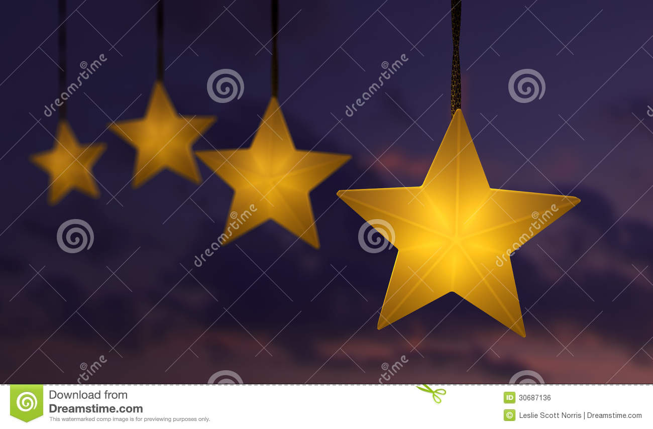 Hanging Star String Lights Over Sky Stock Illustration