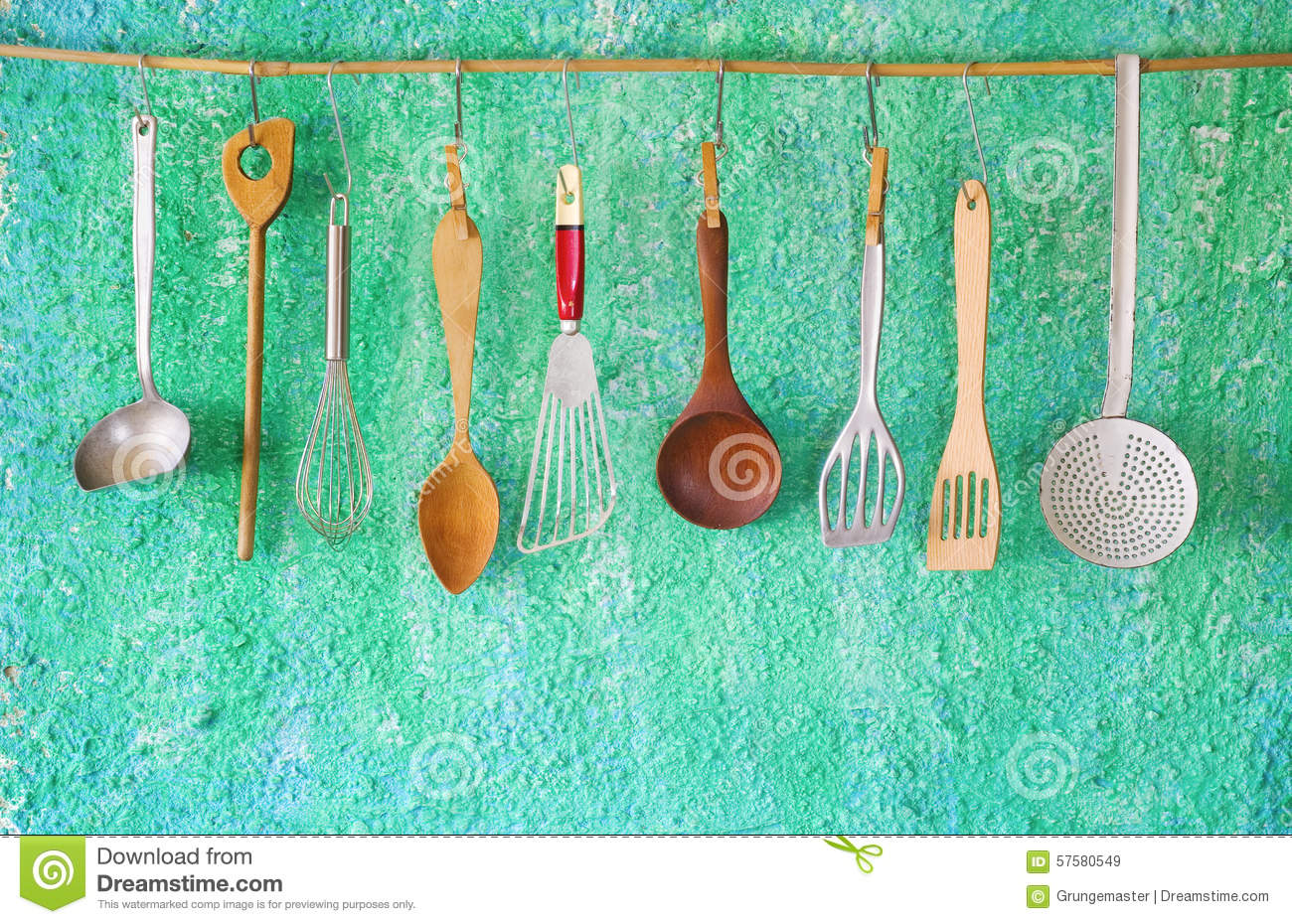 Hanging Vintage Kitchen Utensils Stock Image - Image of ladle, group ...