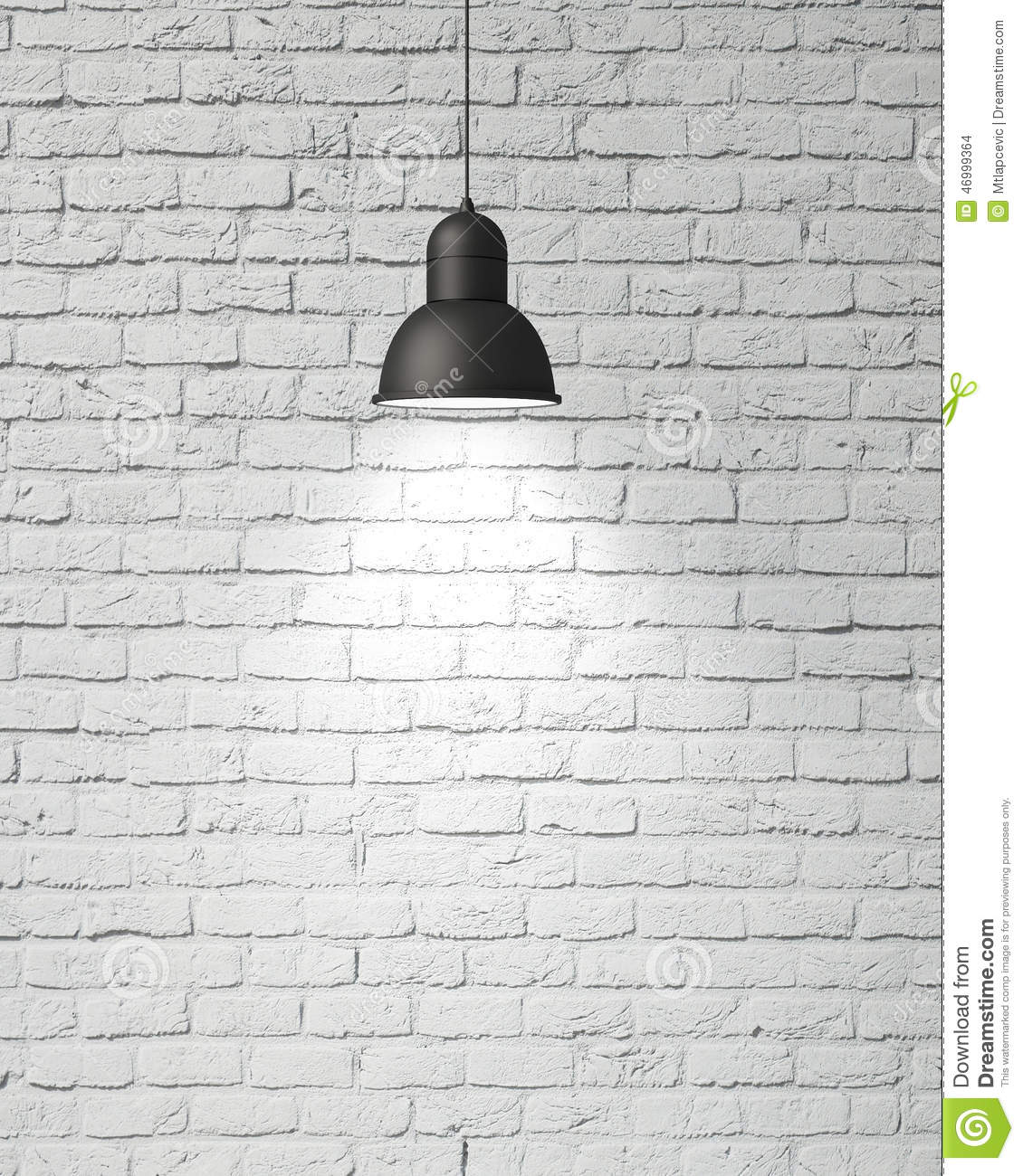 Hanging white lamp with shadow on vintage white painted - Pared ladrillo blanco ...