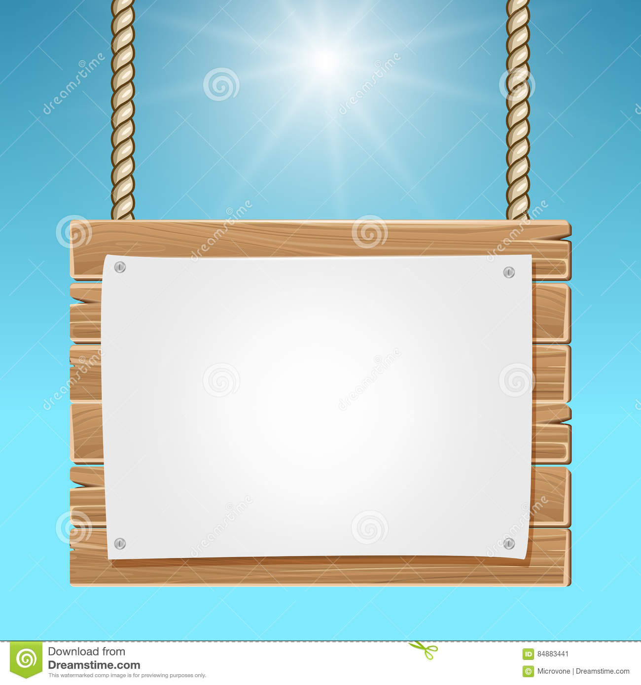 hanging wooden blank sign board blue sky stock vector