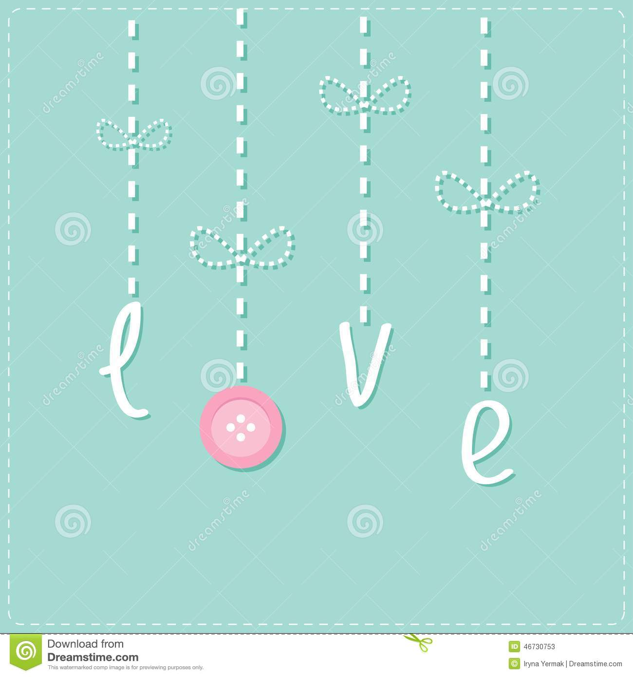 Download Hanging Word Love With Button Dash Line Love Card Stock Vector Il Ration Of