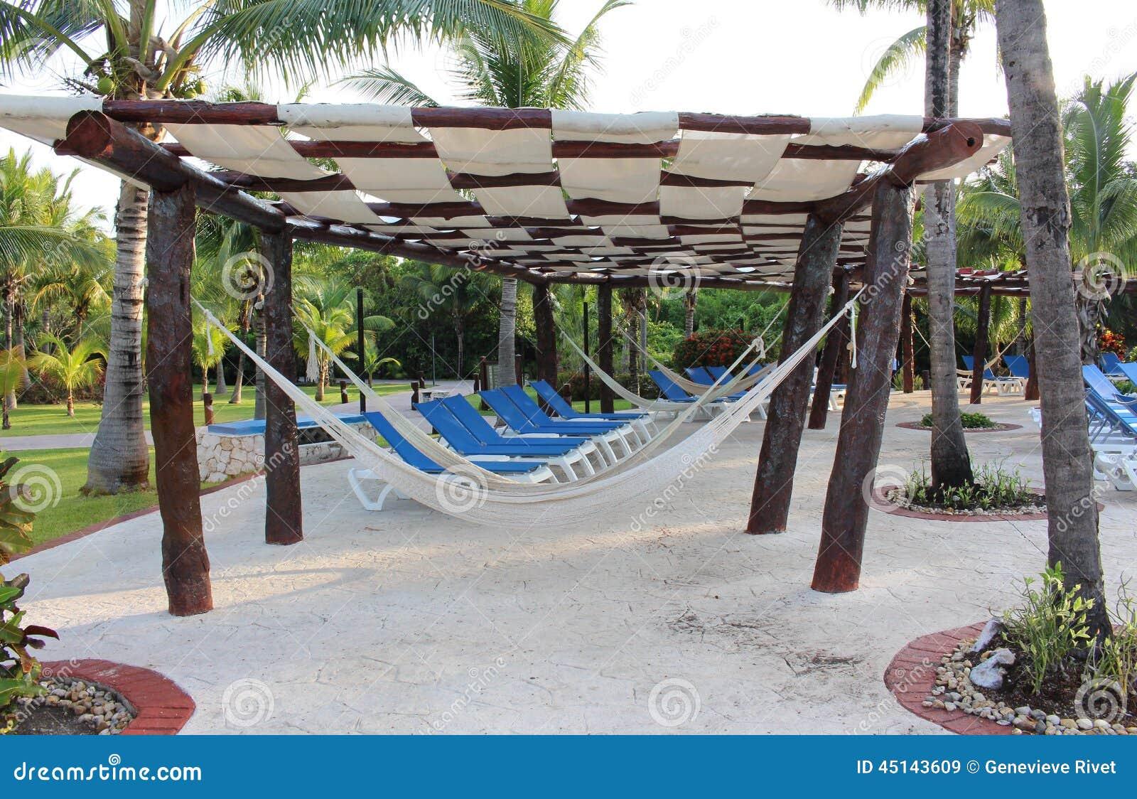 Hangmat Uit Mexico.Hangmat Op Een Toevlucht Van Mexico Stock Afbeelding Afbeelding