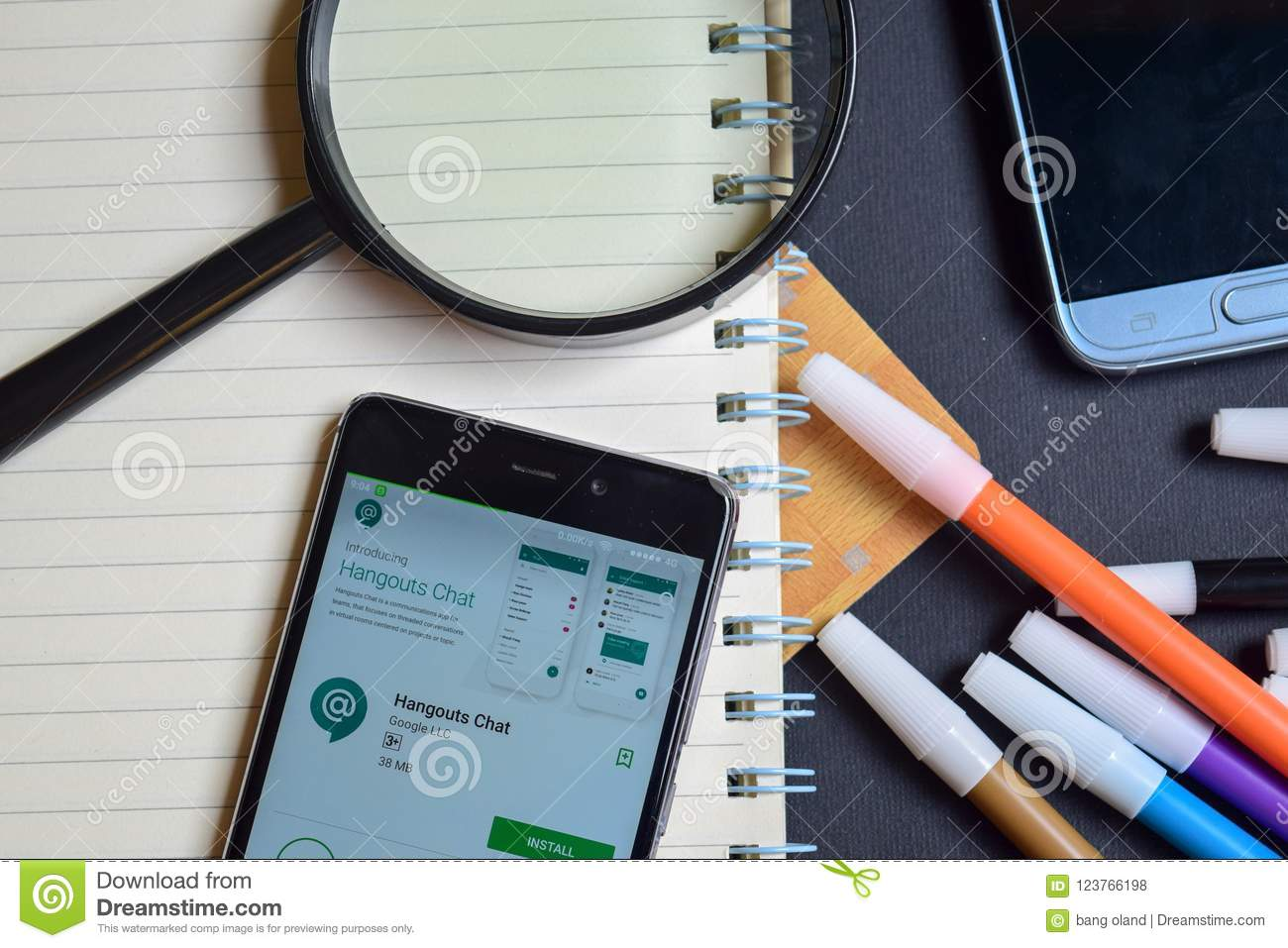 Hangouts Chat App On Smartphone Screen  Editorial Stock Photo