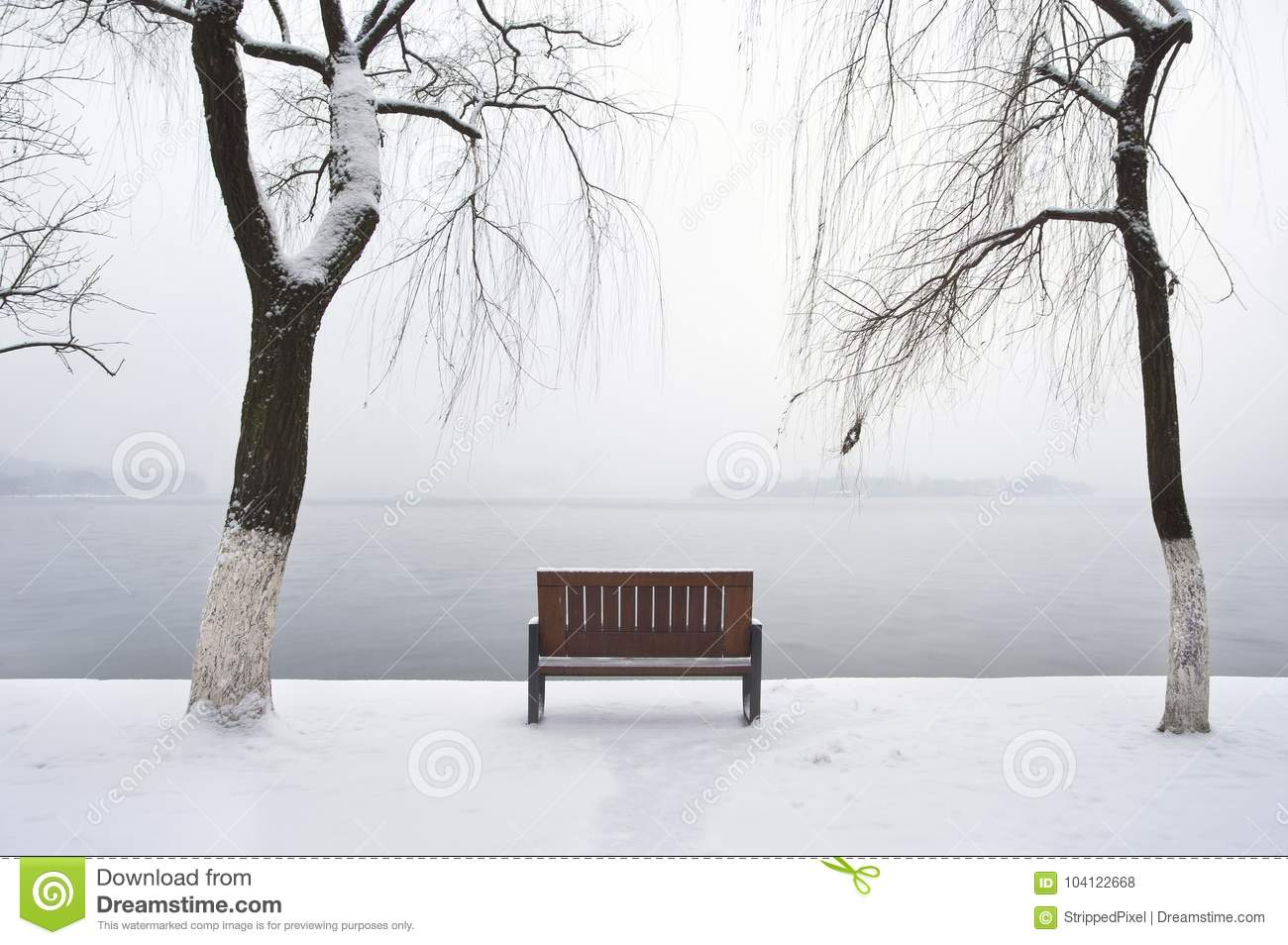 Lonely winter bench beside West Lake, Hangzhou