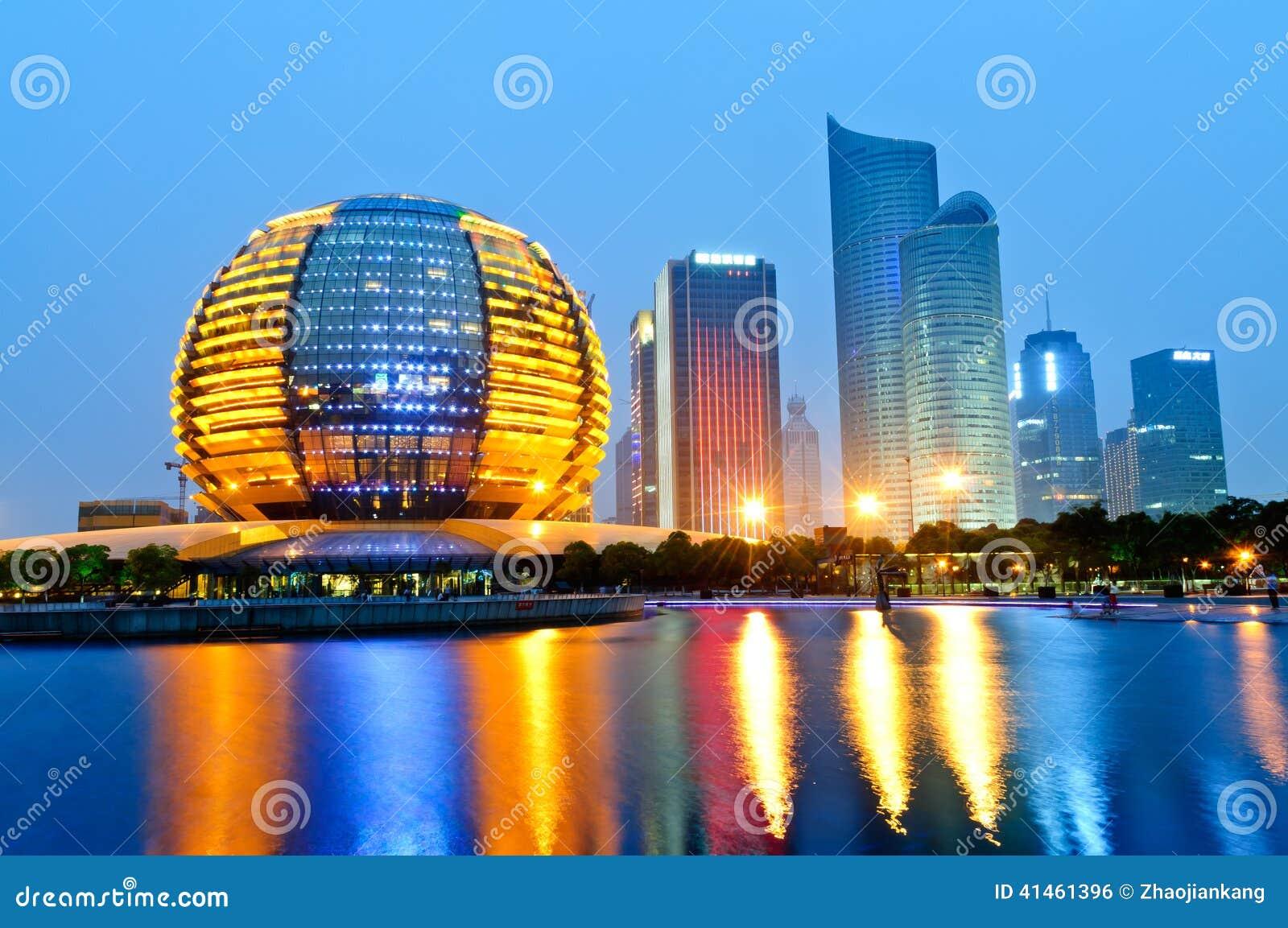 Hangzhou international conference center at night - Hangzhou congress center ...