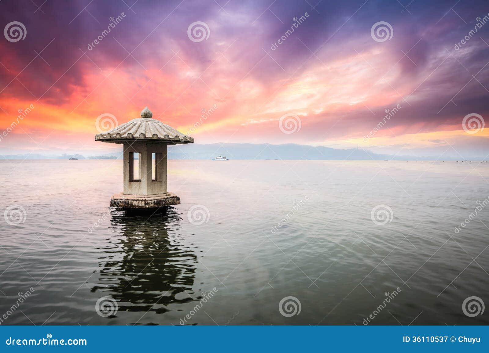 Hangzhou Scenery In Sunset Stock Image  Image Of Landscape