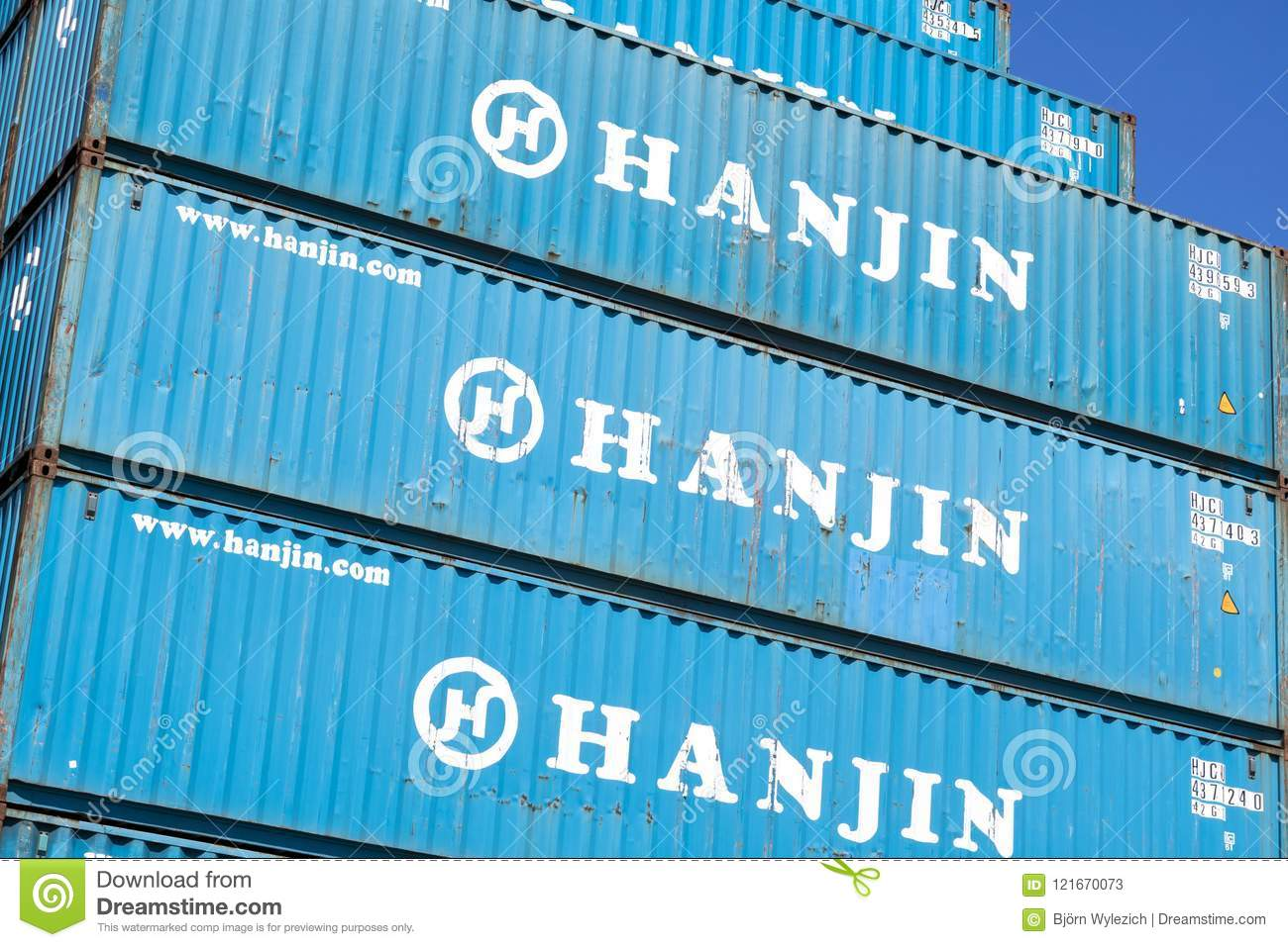 Hanjin 40 Ft Intermodal Containers Stacked In Harbor