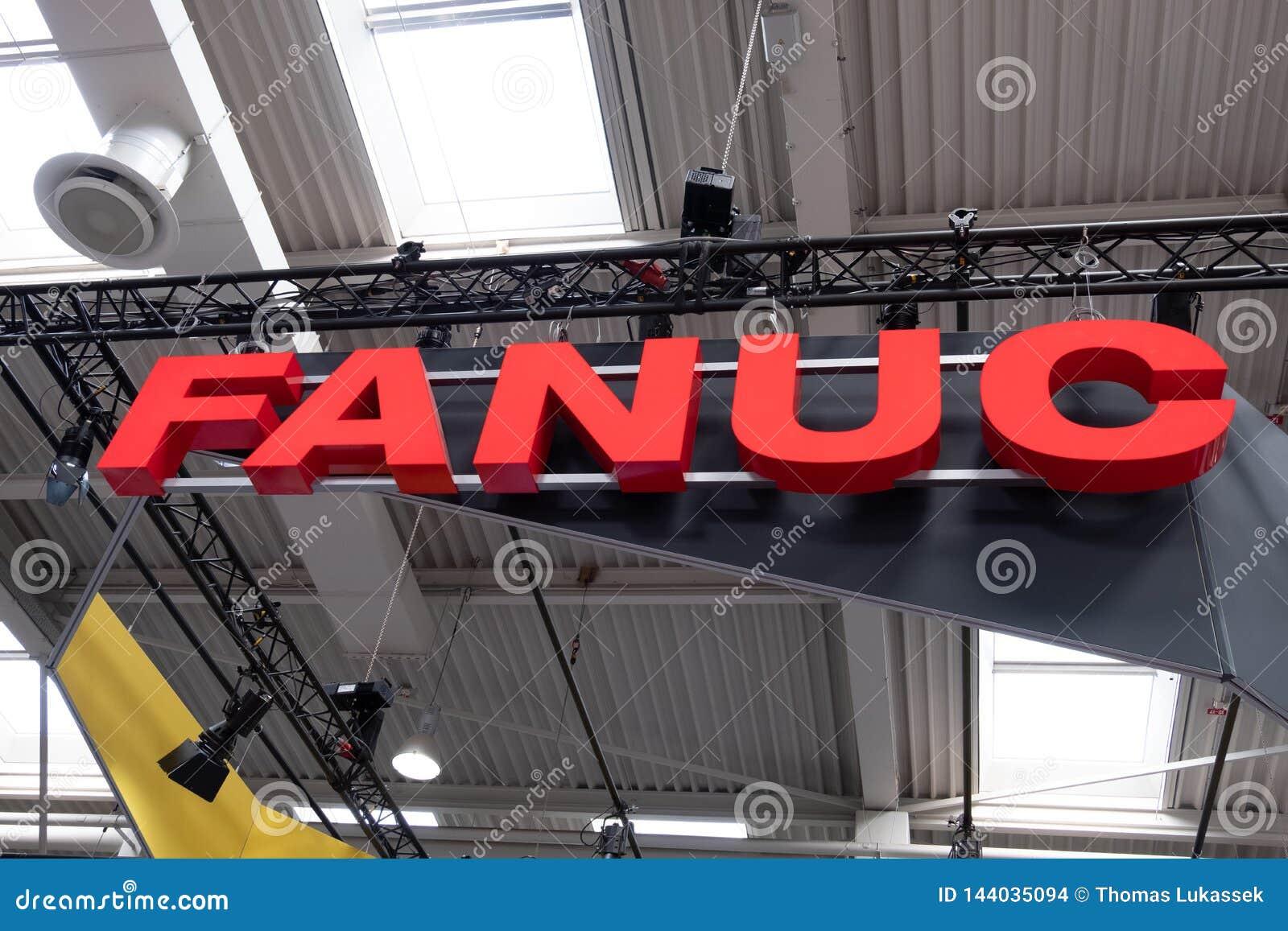 Hannover, Deutschland - 2. April 2019: FANUC stellt die neueste Generation von Robotern an der HANNOVER-MESSE vor