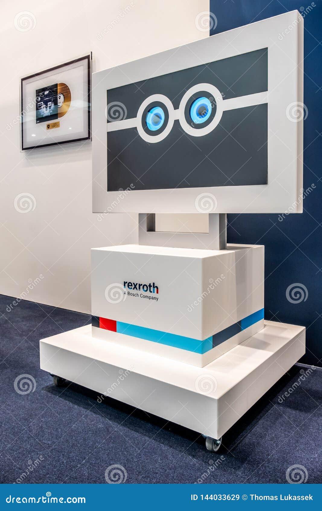 Hannover, Germania - 2 aprile 2019: Bosch Rexroth sta visualizzando l innovazione continua a Hannover Messe