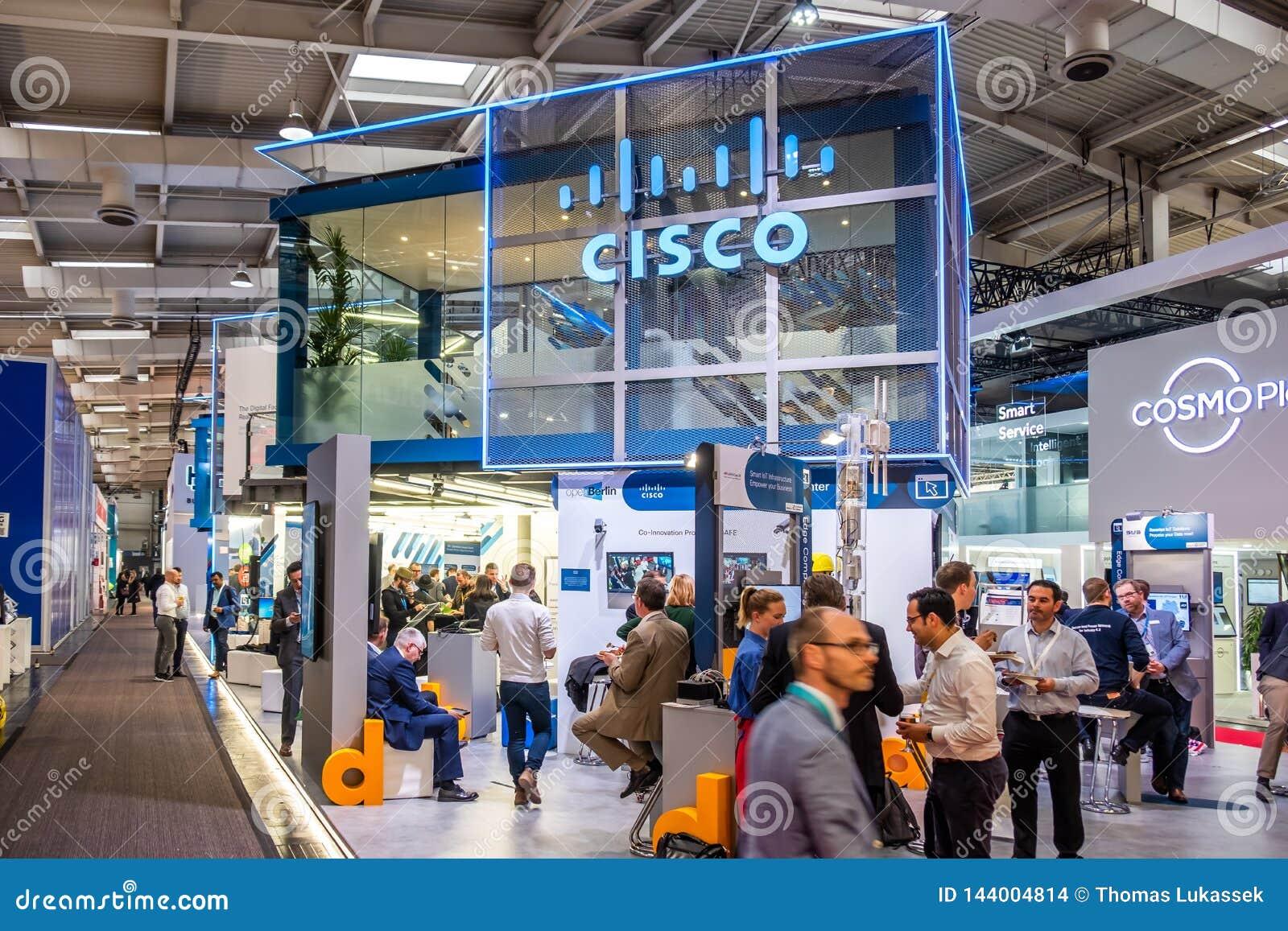 Hannover, Germania - 2 aprile 2019: Cisco sta visualizzando le nuove innovazioni a Hannover Messe