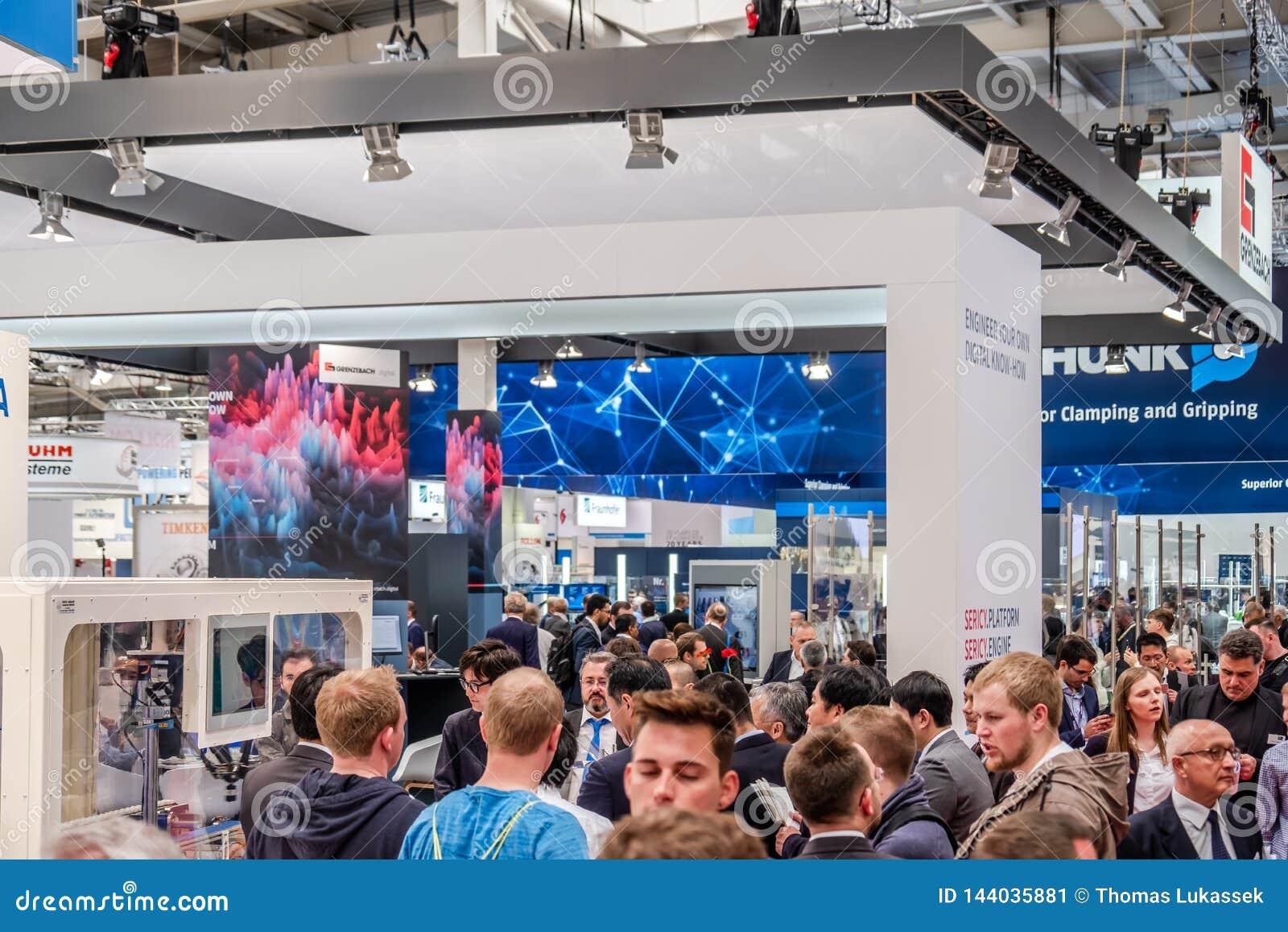 Hannover, Germania - 2 aprile 2019: Grenzbach sta presentando le loro pi? nuove innovazioni a Hannover Messe