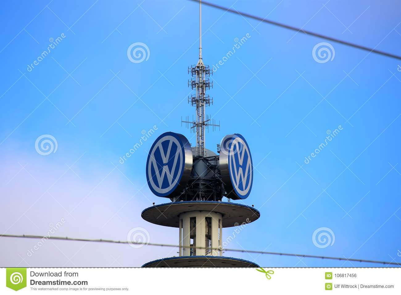 Hannover/Germany - 11/13/2017 - An Image Of A VW Tower - VW