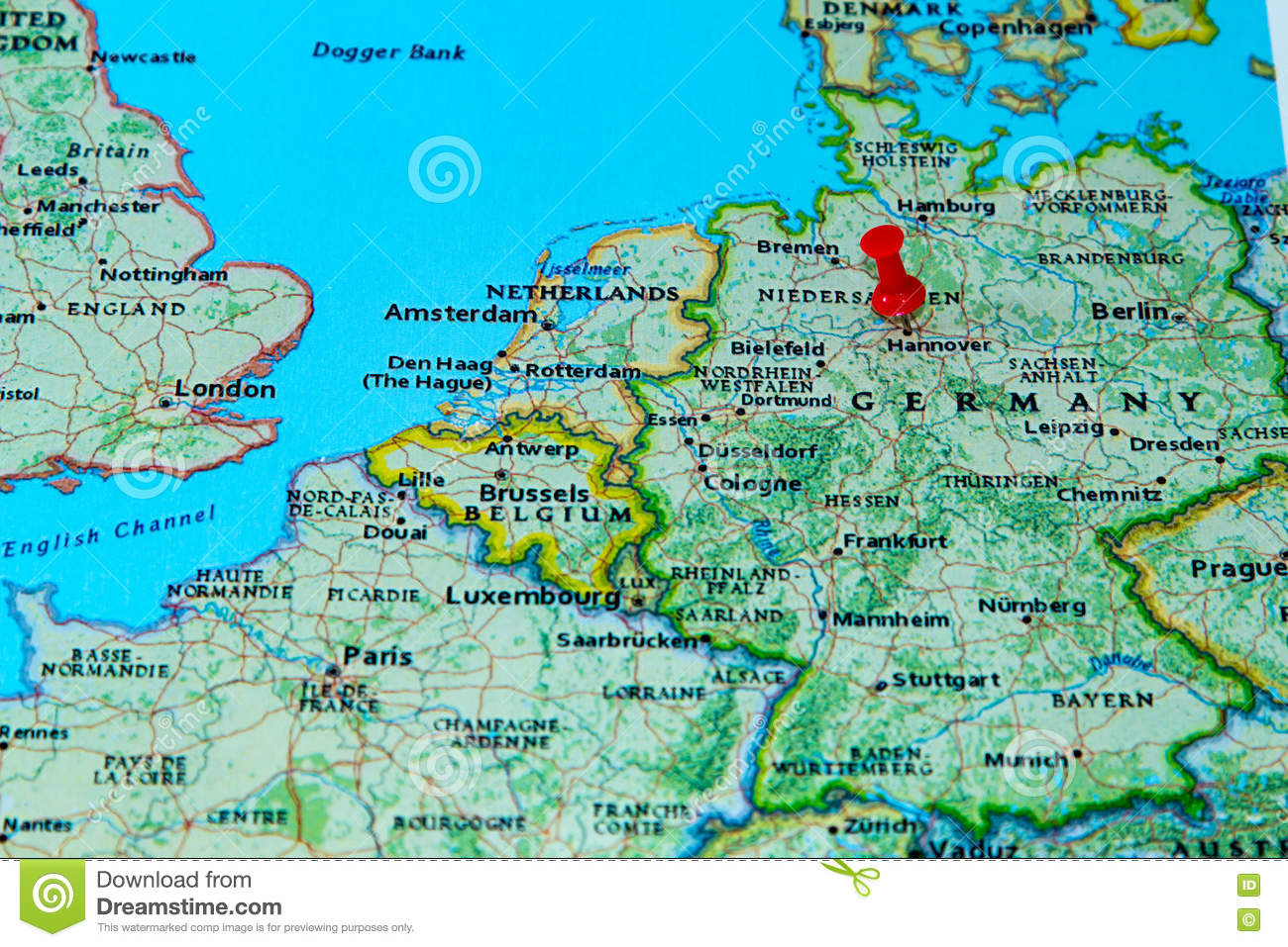 Antwerp Map Europe.Hannover Germany Pinned On A Map Of Europe Stock Photo Image Of