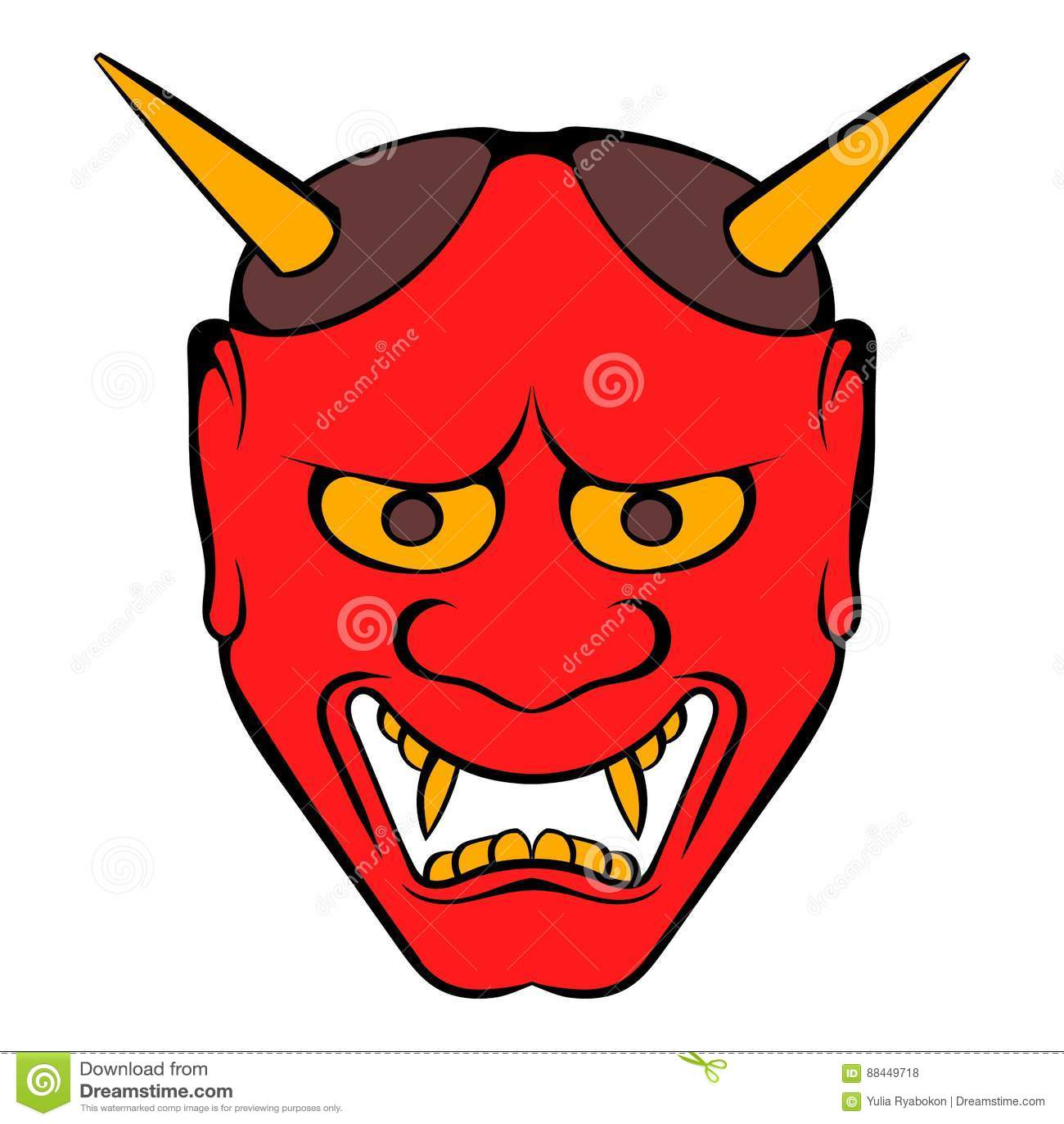 Hannya mask icon carto...