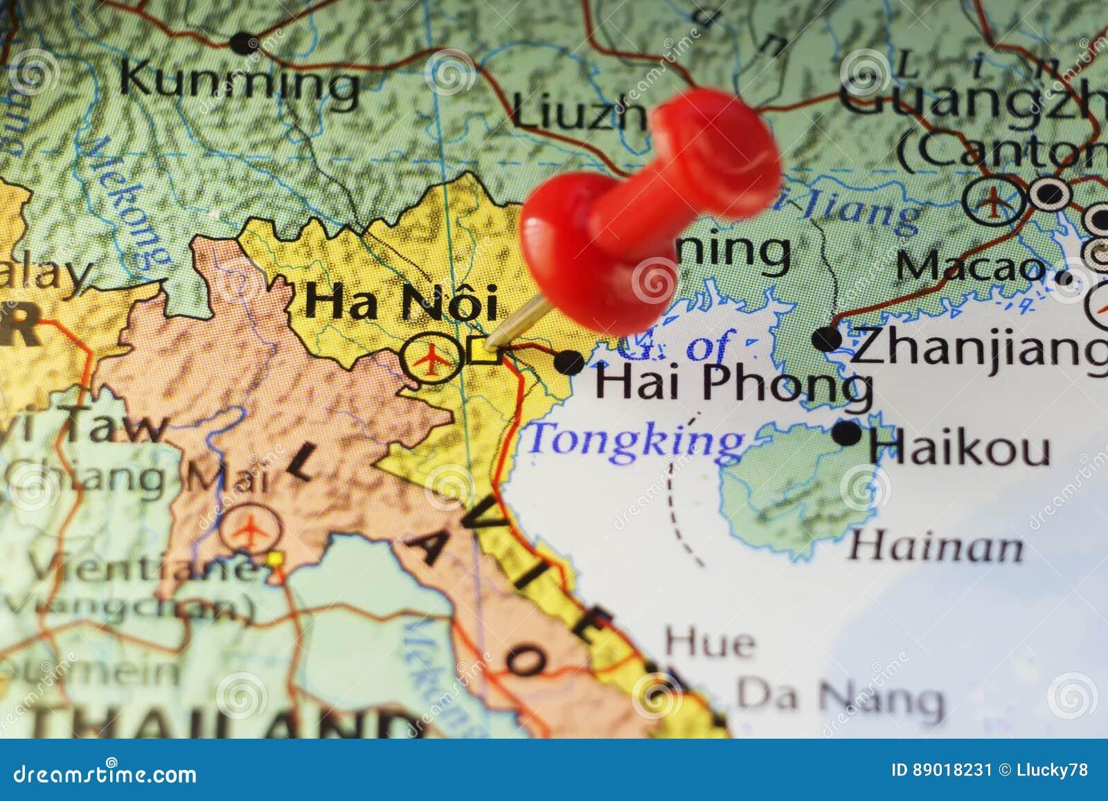 Ha Noi Vietnam Map.Hanoi Capital City Of Vietnam Stock Image Image Of Pushpin Travel