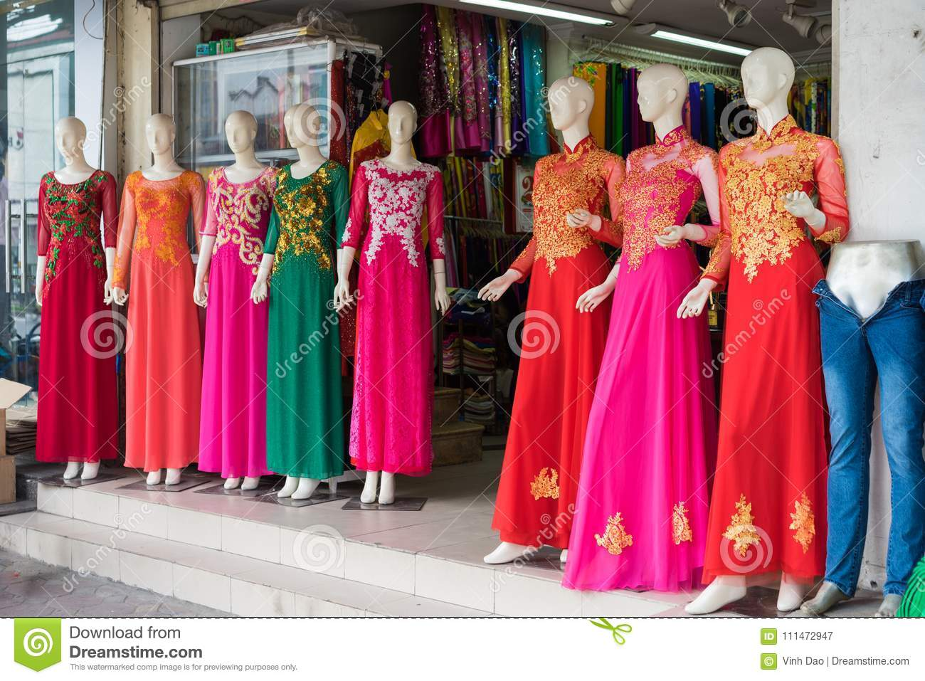 1ac03dd37 Hanoi, Vietnam - Apr 28, 2015: Vietnamese traditional dress Ao Dai for sale  in a shop in Xuan Thuy street.