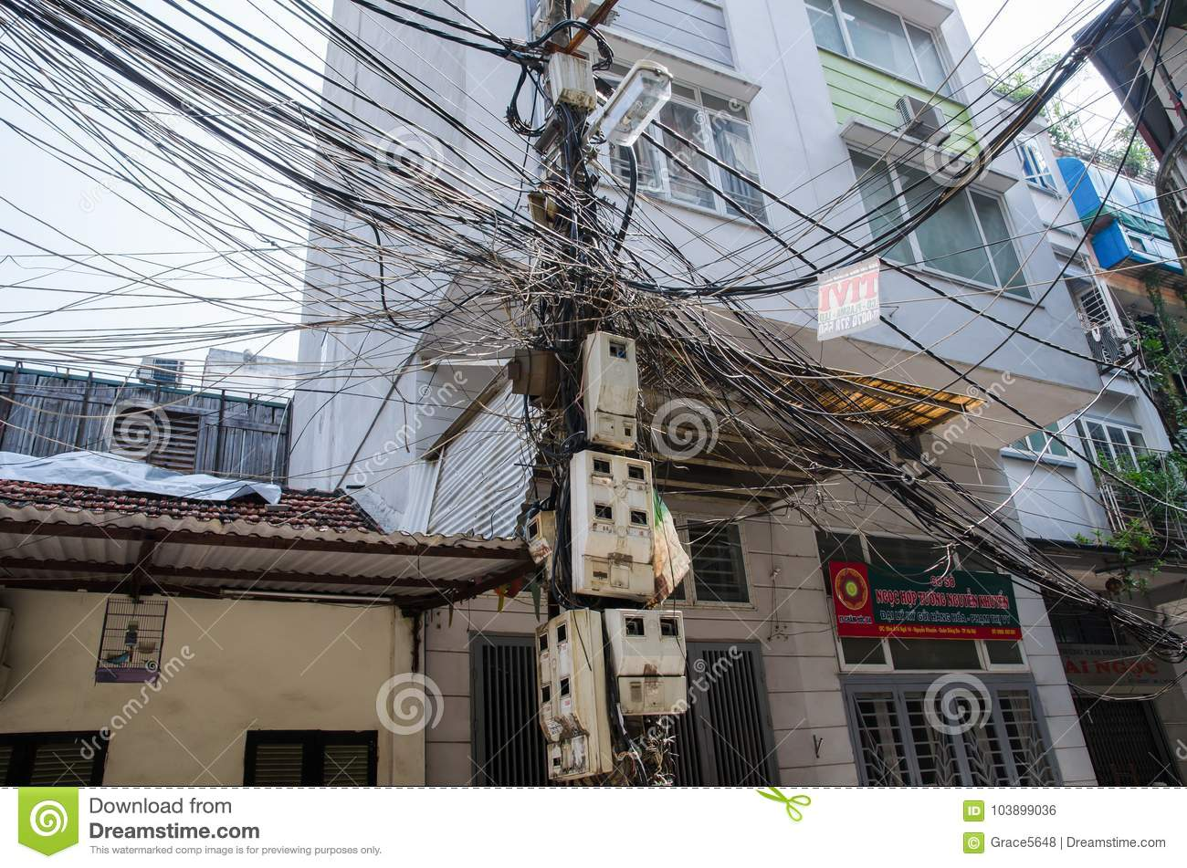 Messy Electric Wiring On The Pole In Hanoivietnam Editorial Photo