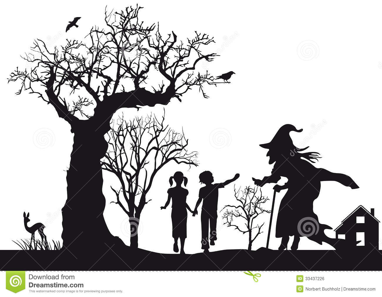 ... of Hansel and Gretel fairytale with witch, white background