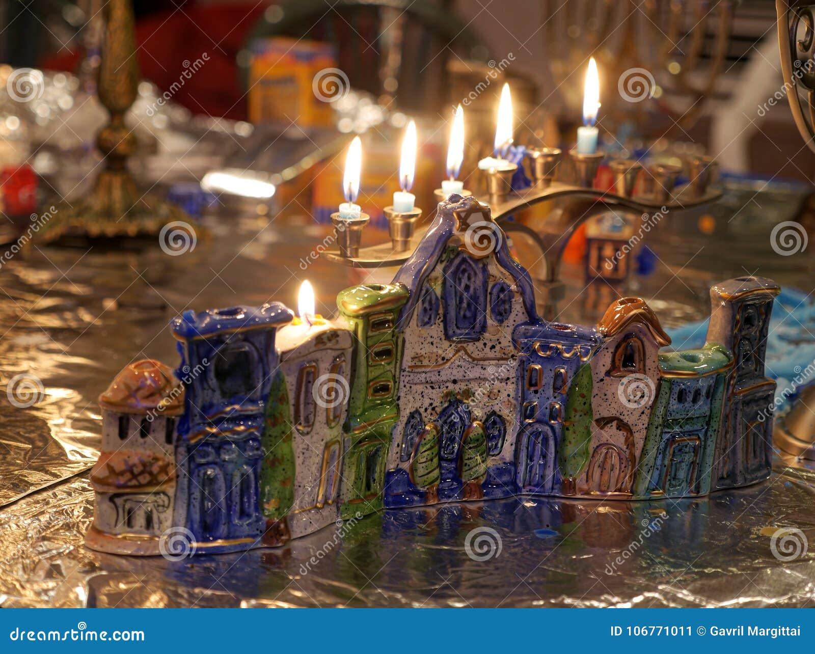 Hanuka świeczki światła