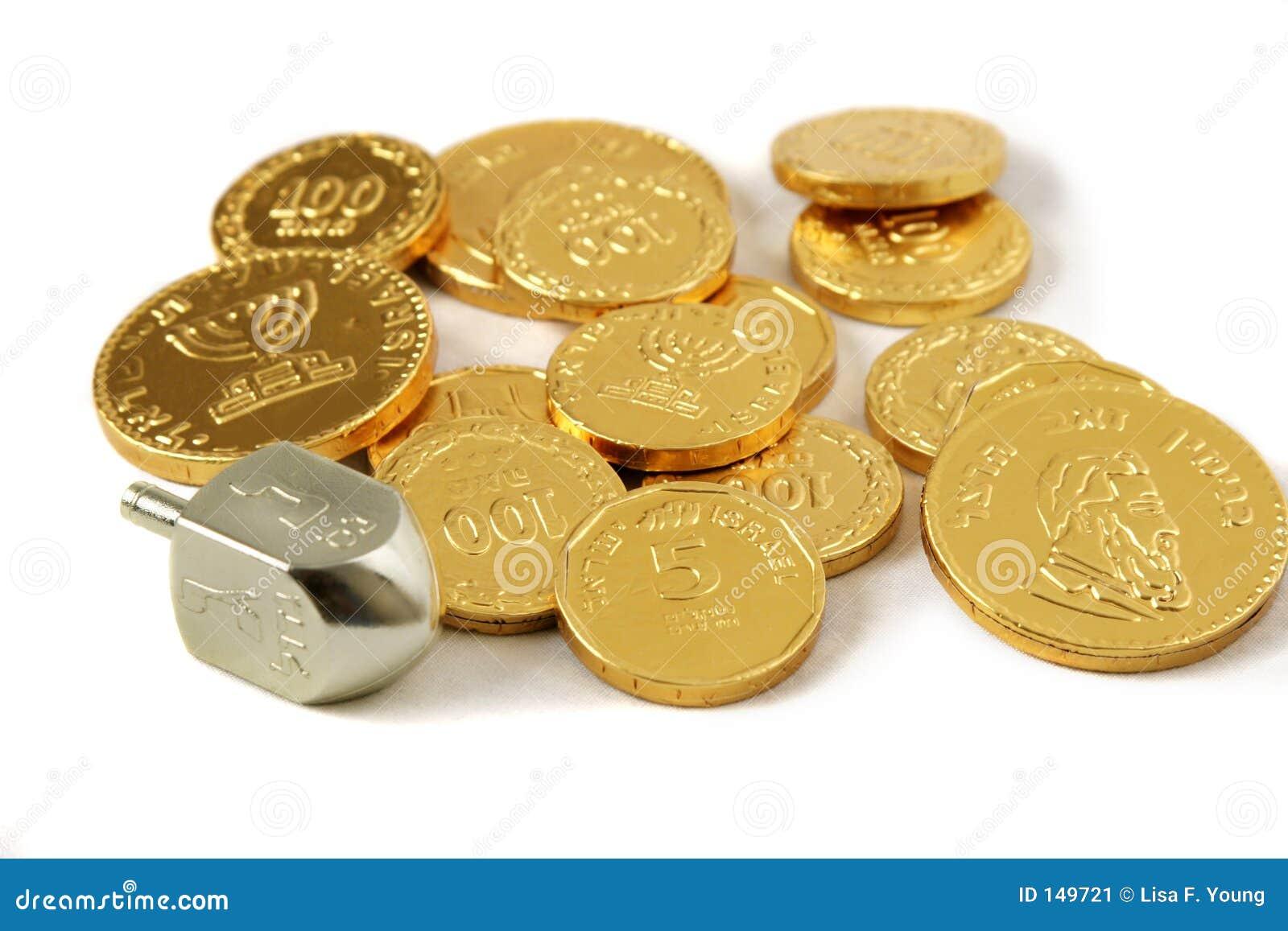 Hanukah Dreidel & moedas