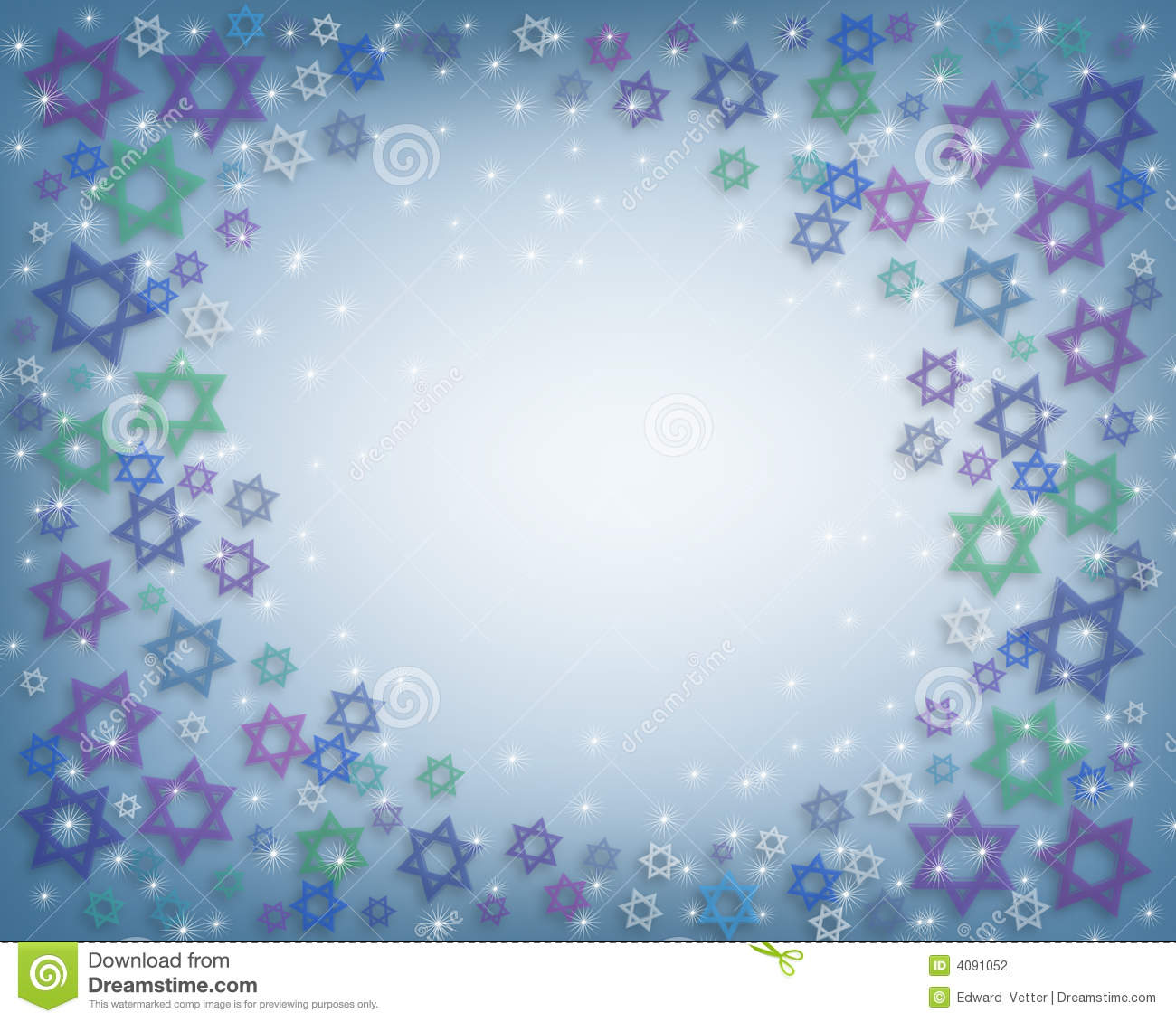 Illustrated Background, border or frame for Hanukkah with Jewish Stars ...