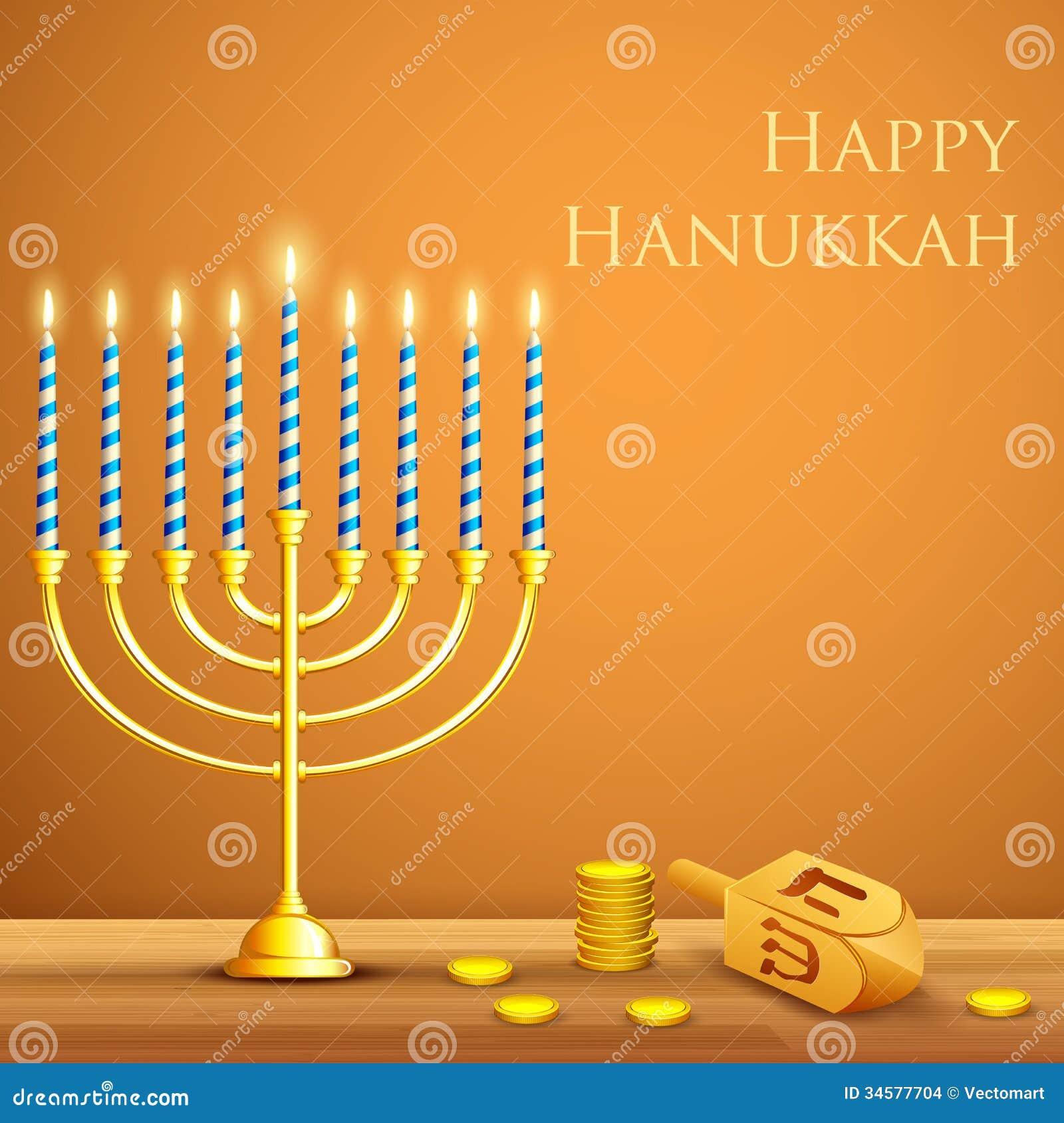 Illustration of burning candle in Hanukkah Menorah with Dreidel.