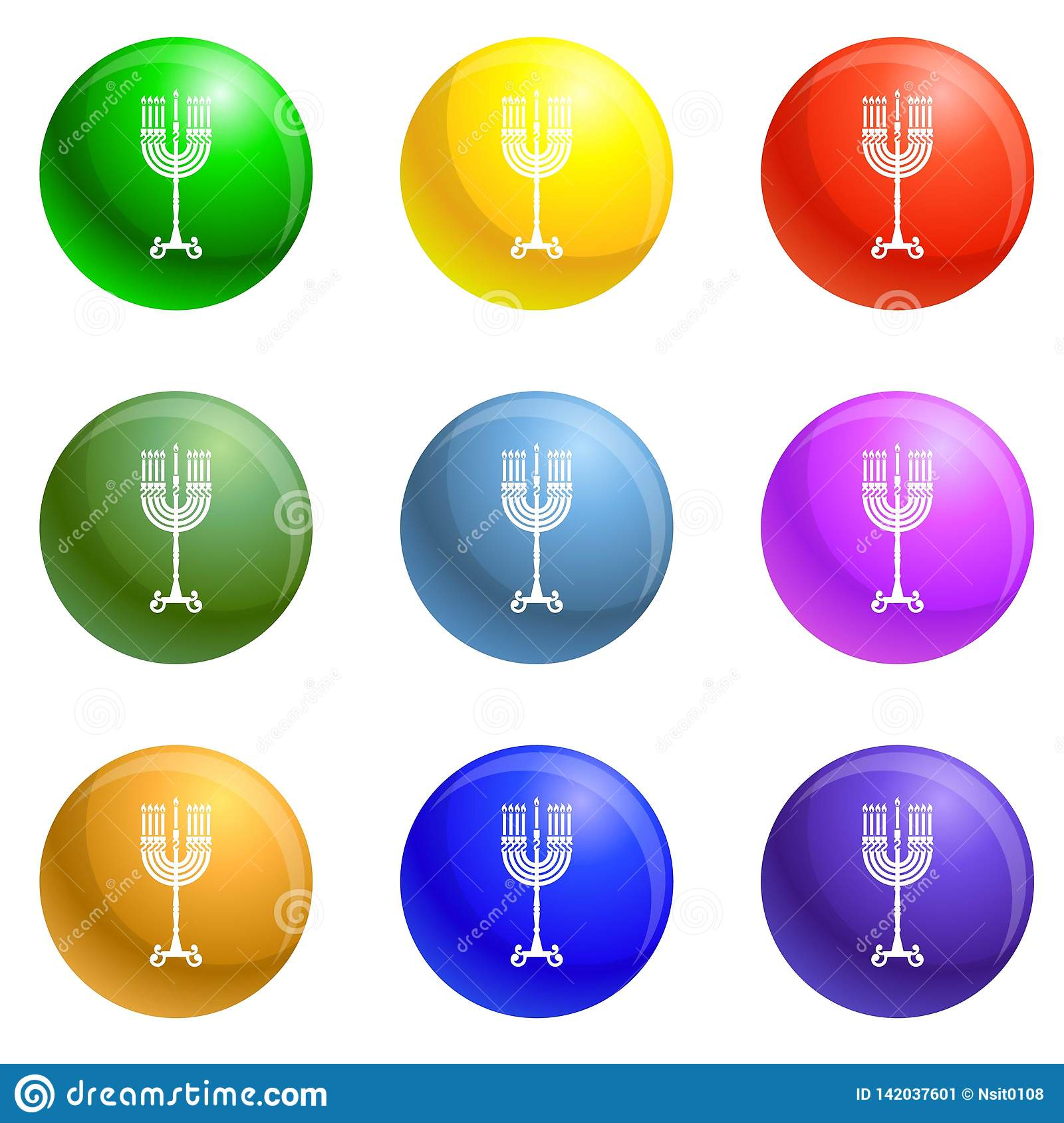 Hanukkah candle stand icons set vector