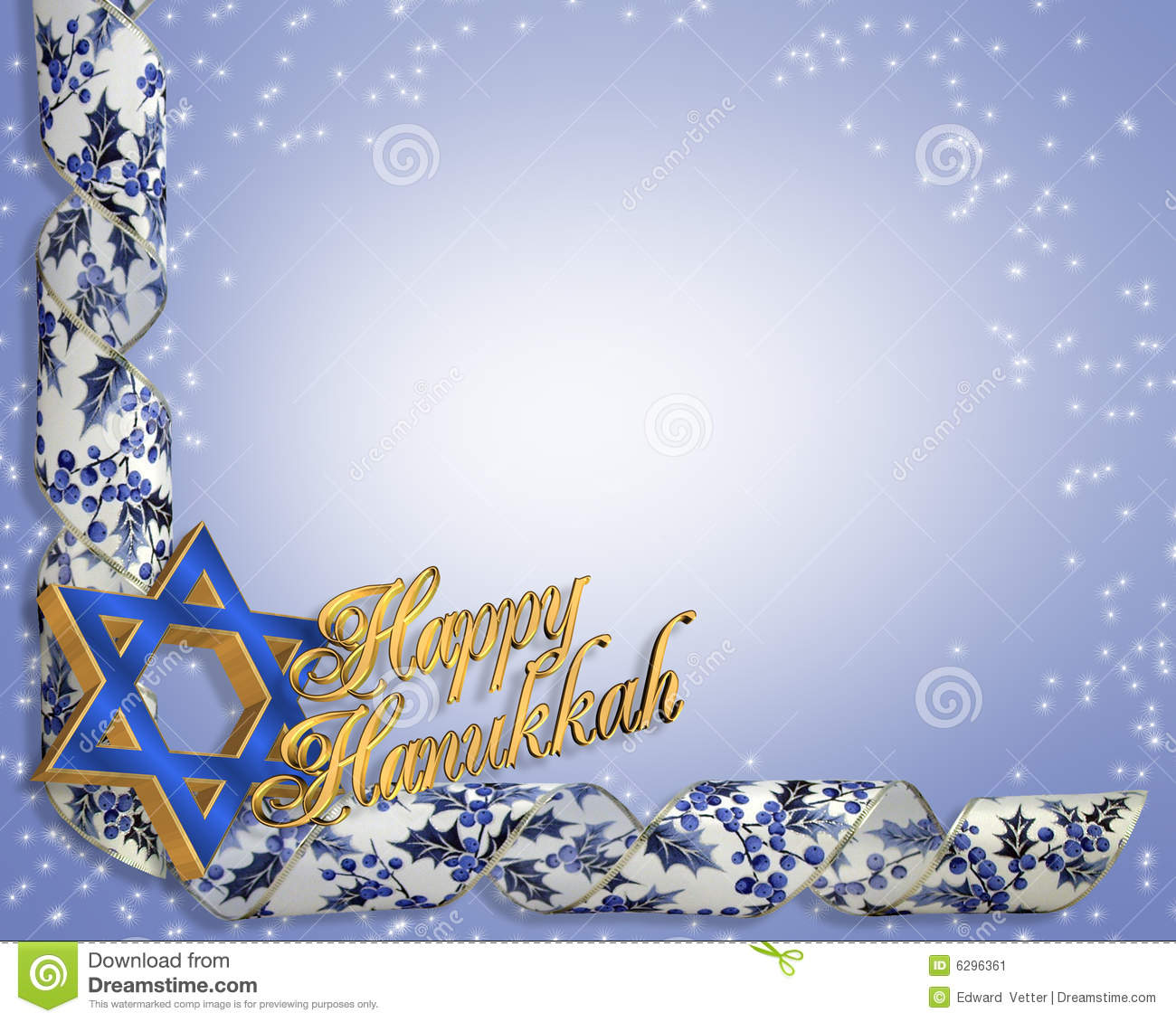 Dimensional illustration composition Hanukkah card or background.