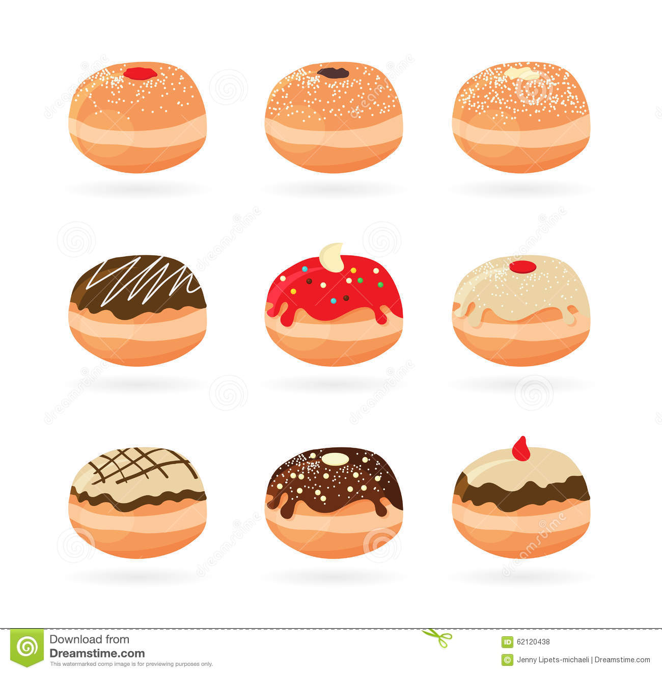 Hanukkah doughnut . Traditional jewish holiday food. illustratio.
