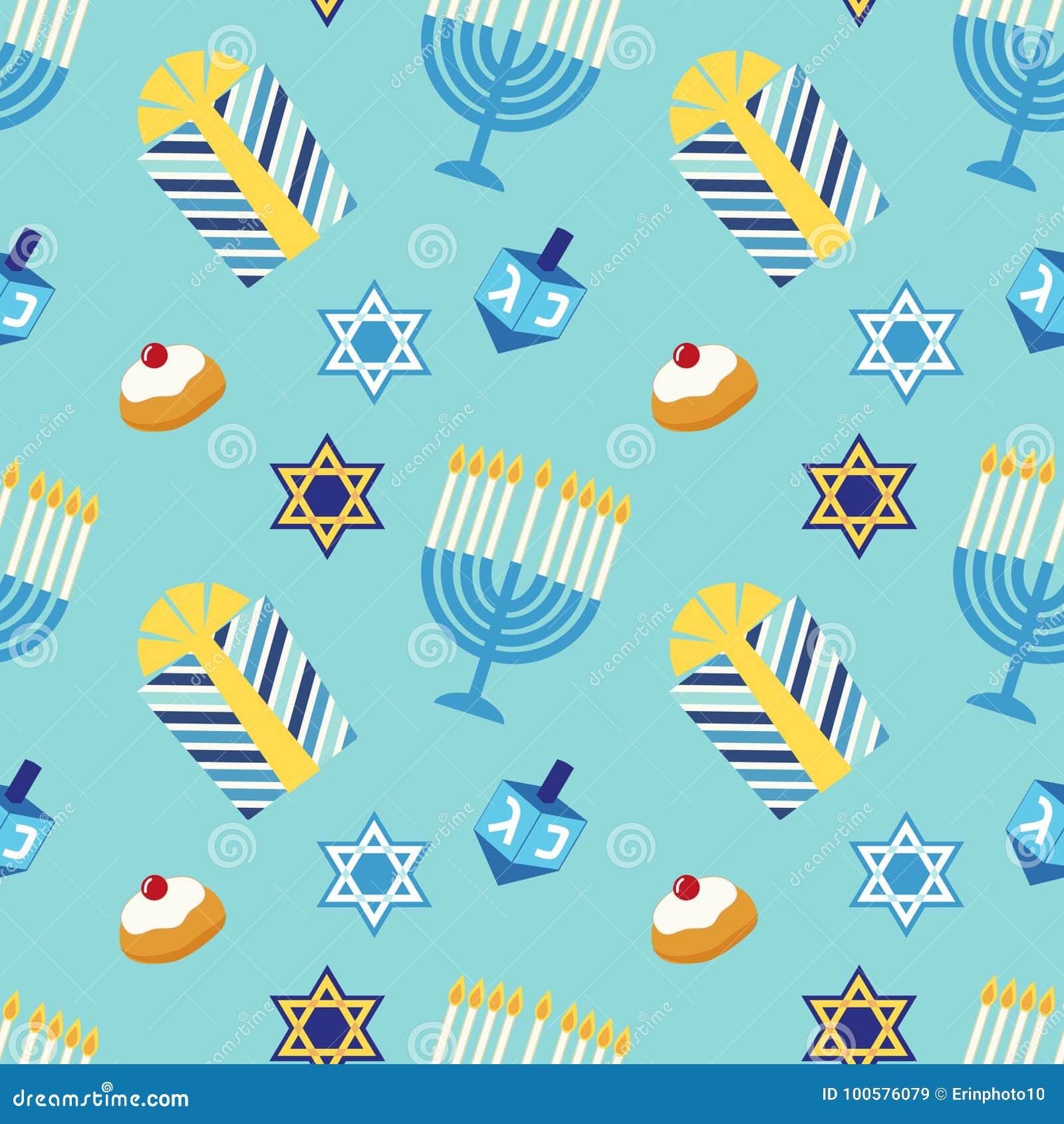 Hanukkah feliz do teste padrão sem emenda festivo bonito em cores tradicionais