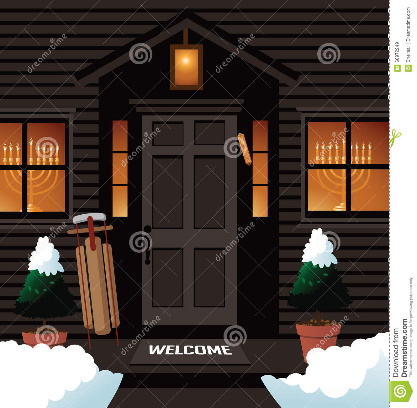 Hanukkah Front Door With Menorah Mezuzah Stock Vector Illustration