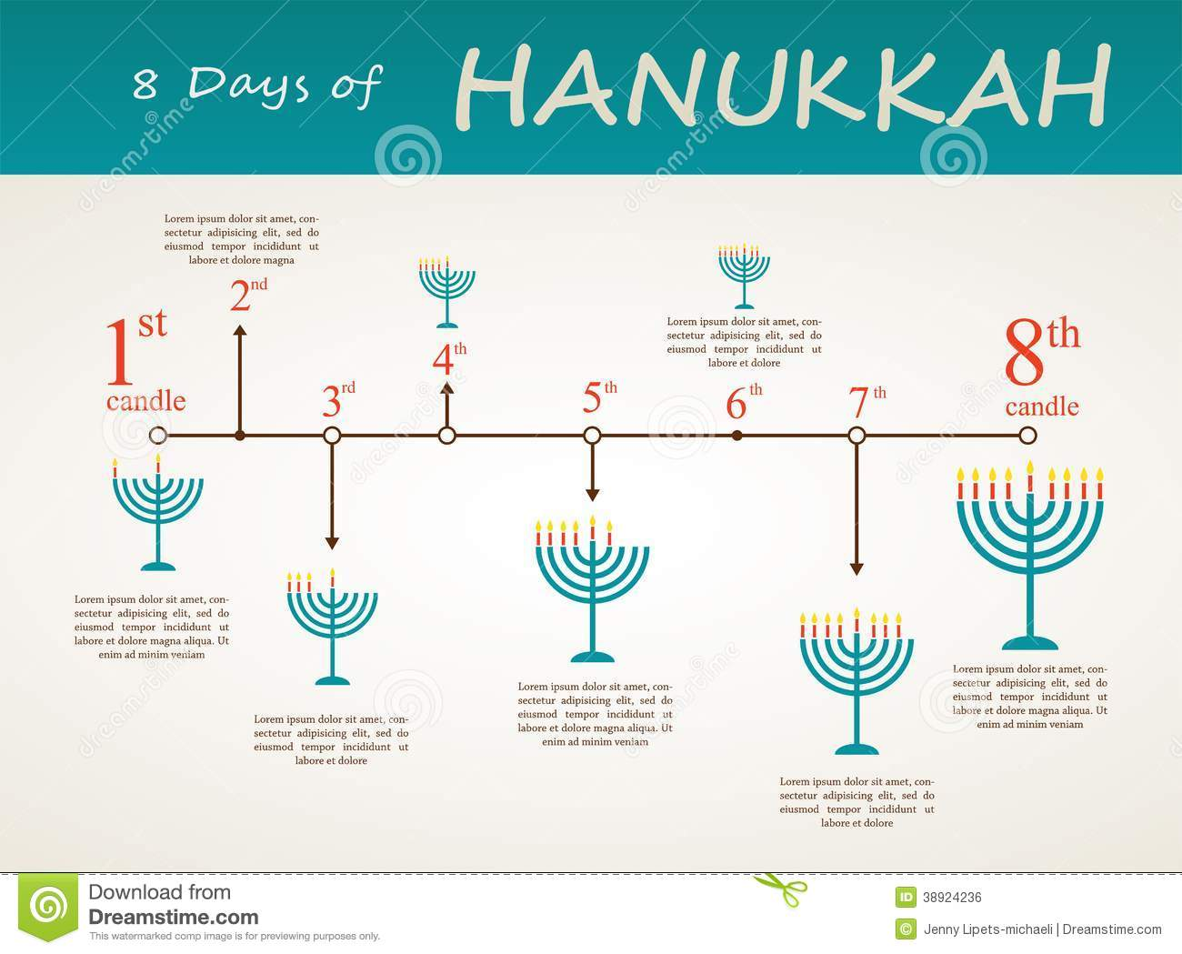 hanukkah holiday timeline   8 day infographics stock photo