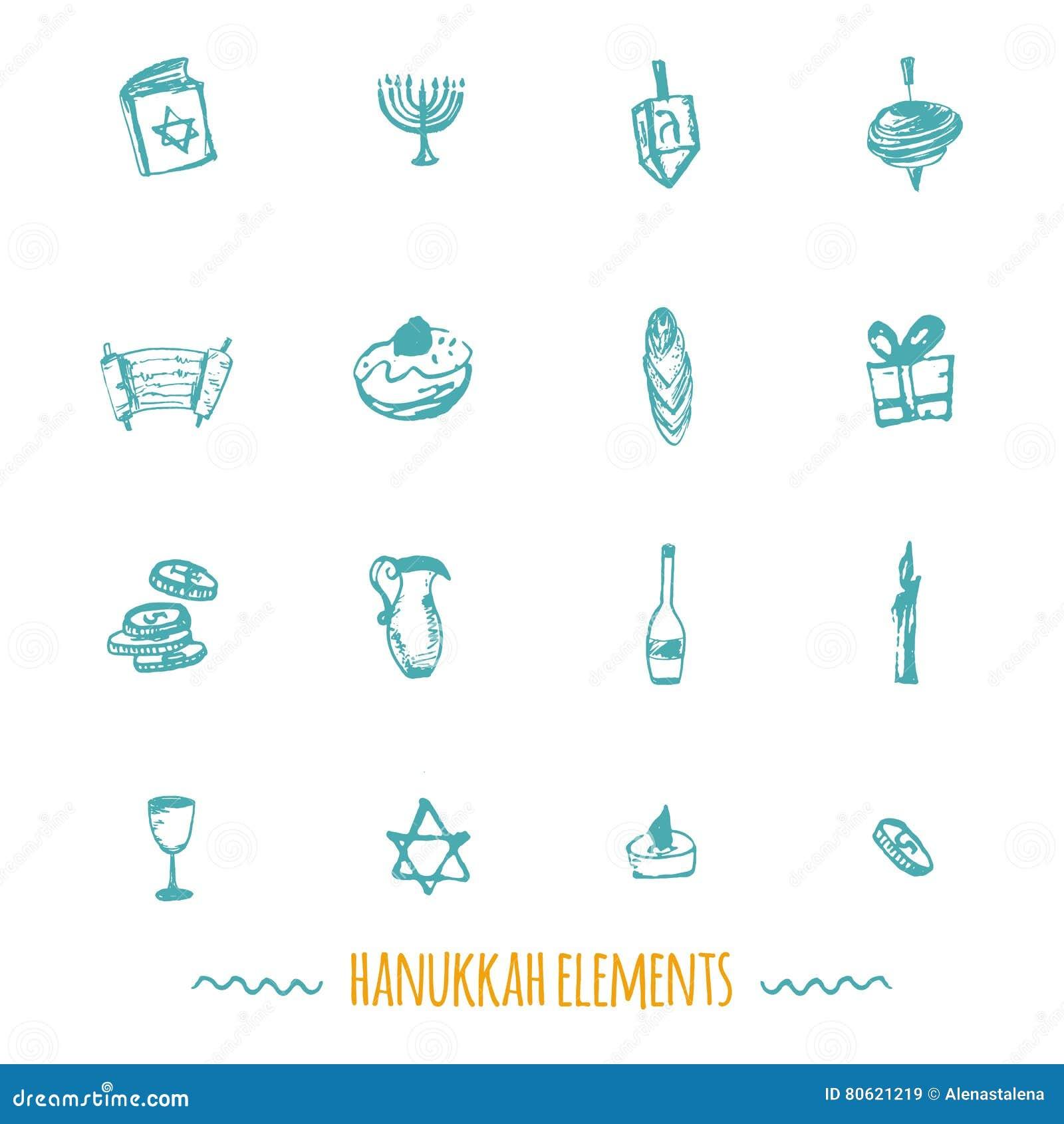 Hanukkah ikon duży set w ręka rysującym stylu wliczając menorah