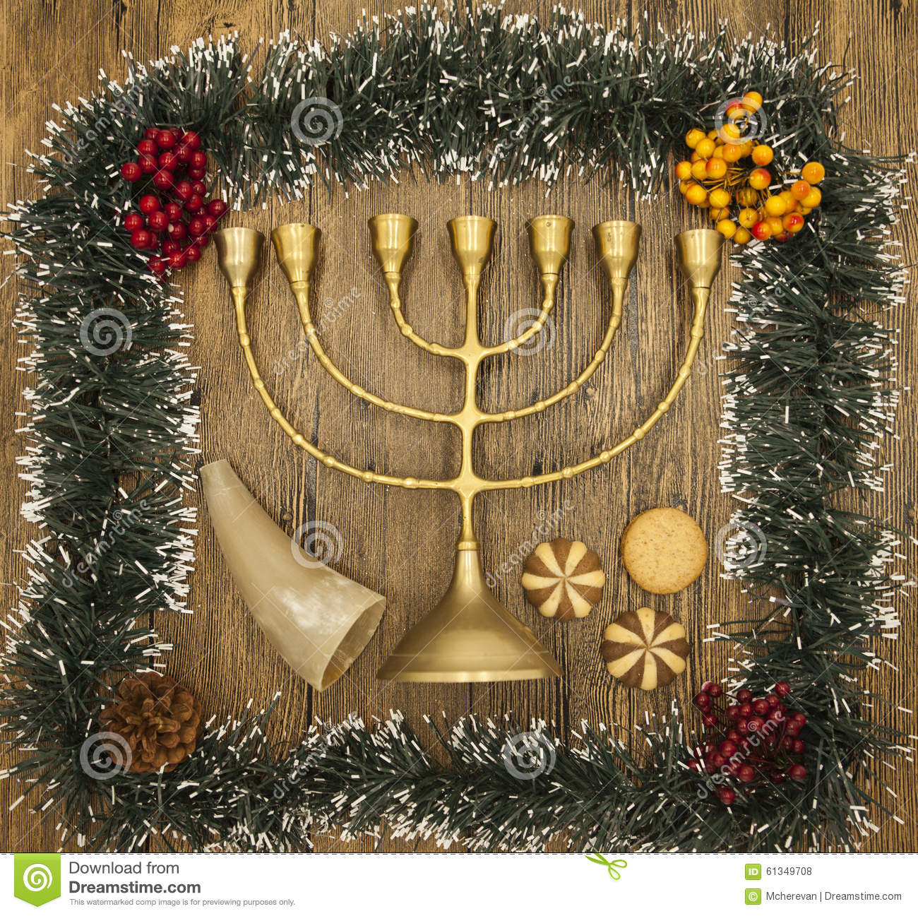 Hanukkah Is The Jewish New Year. Candle With Christmas Ornaments And ...
