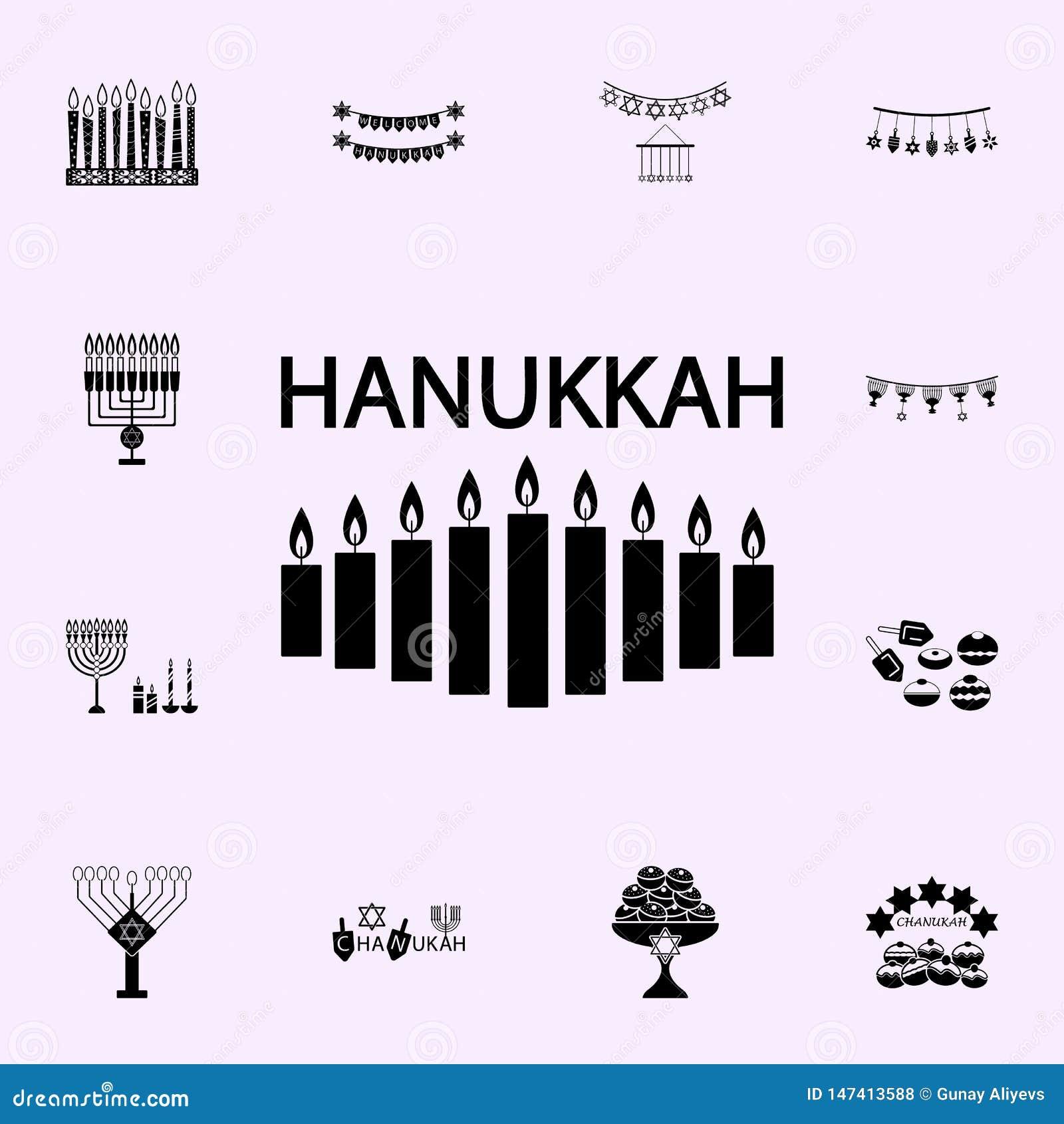 Hanukkah kaarsenpictogram Voor Web wordt geplaatst dat en het mobiele algemene begrip van Chanoekapictogrammen