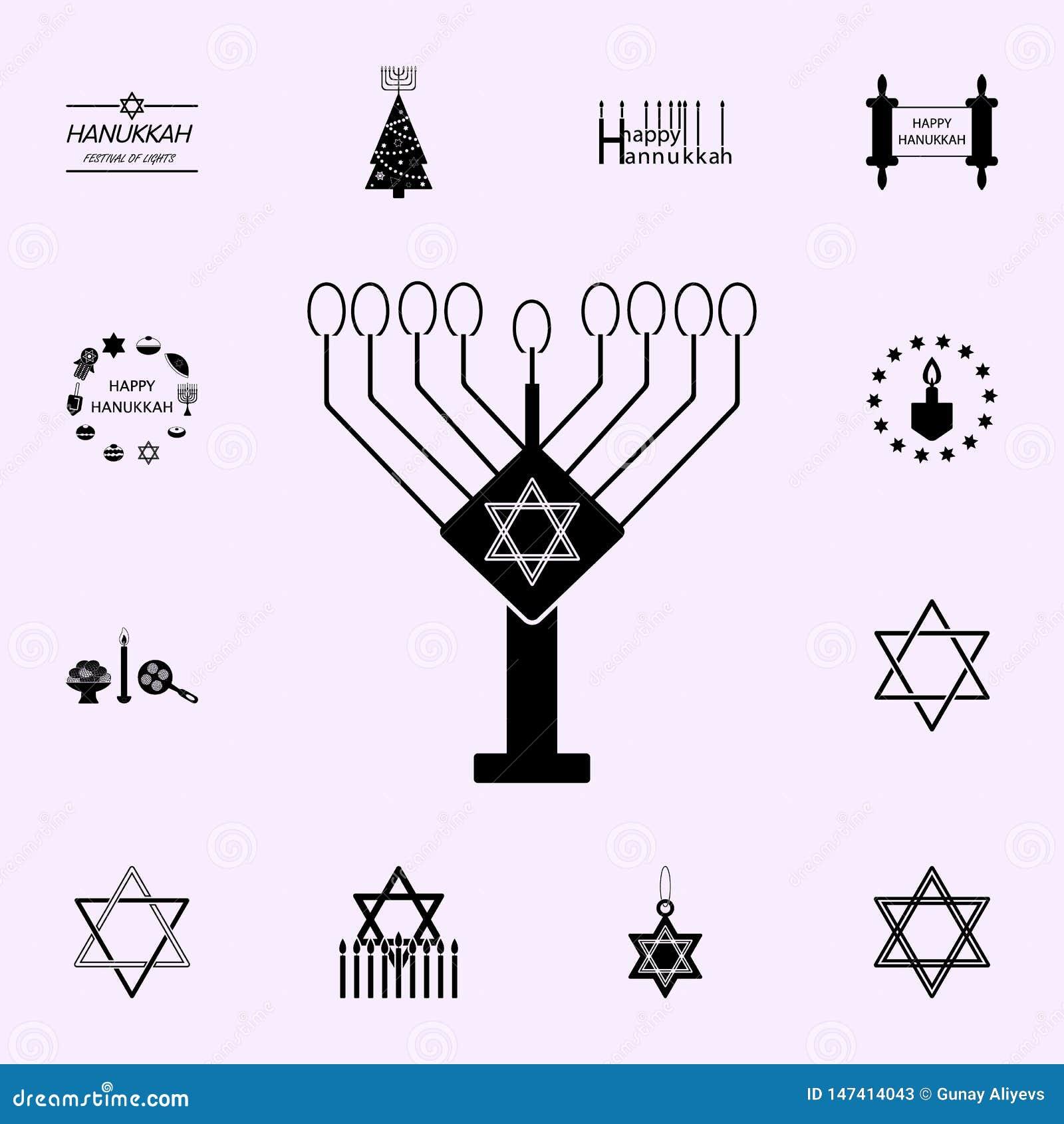 Hanukkah lamppictogram Voor Web wordt geplaatst dat en het mobiele algemene begrip van Chanoekapictogrammen