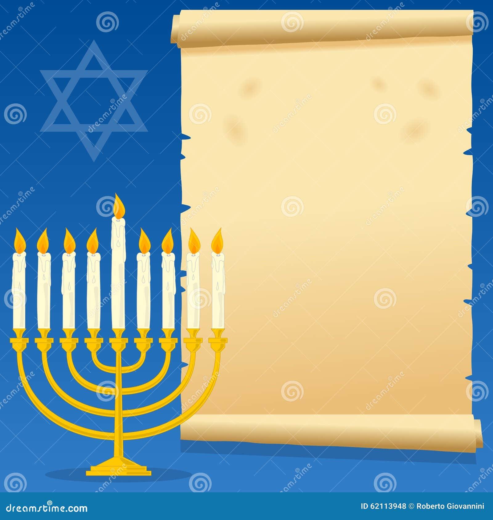 Hanukkah Menorah i Stary pergamin