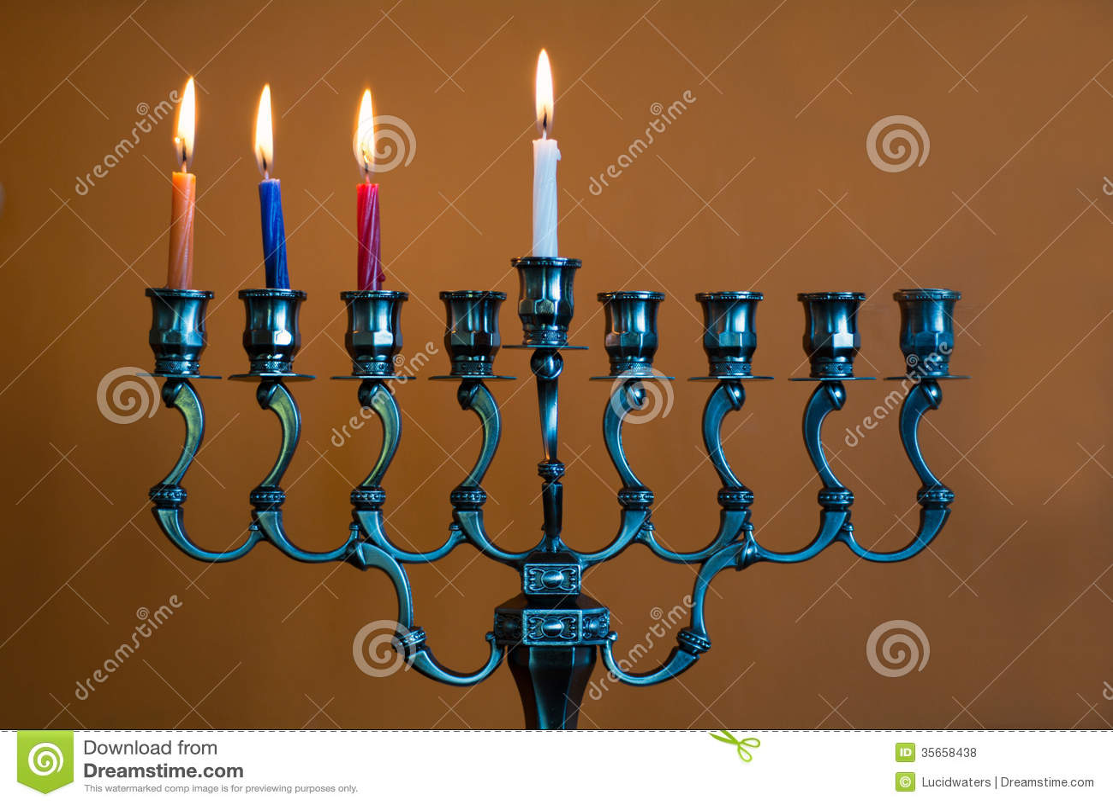 Hanukkah Menorah On The Third Day Of Hanukkah Stock Photo Image Of