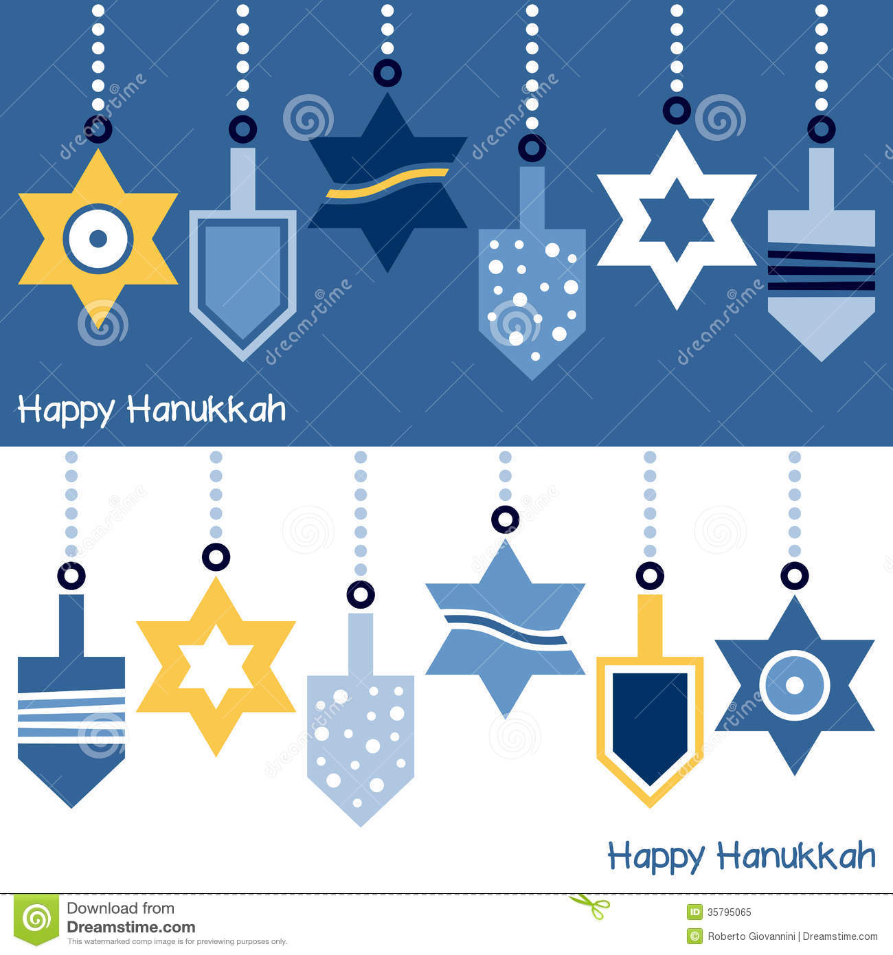 Hanukkah Ornaments Banner stock vector. Illustration of ...