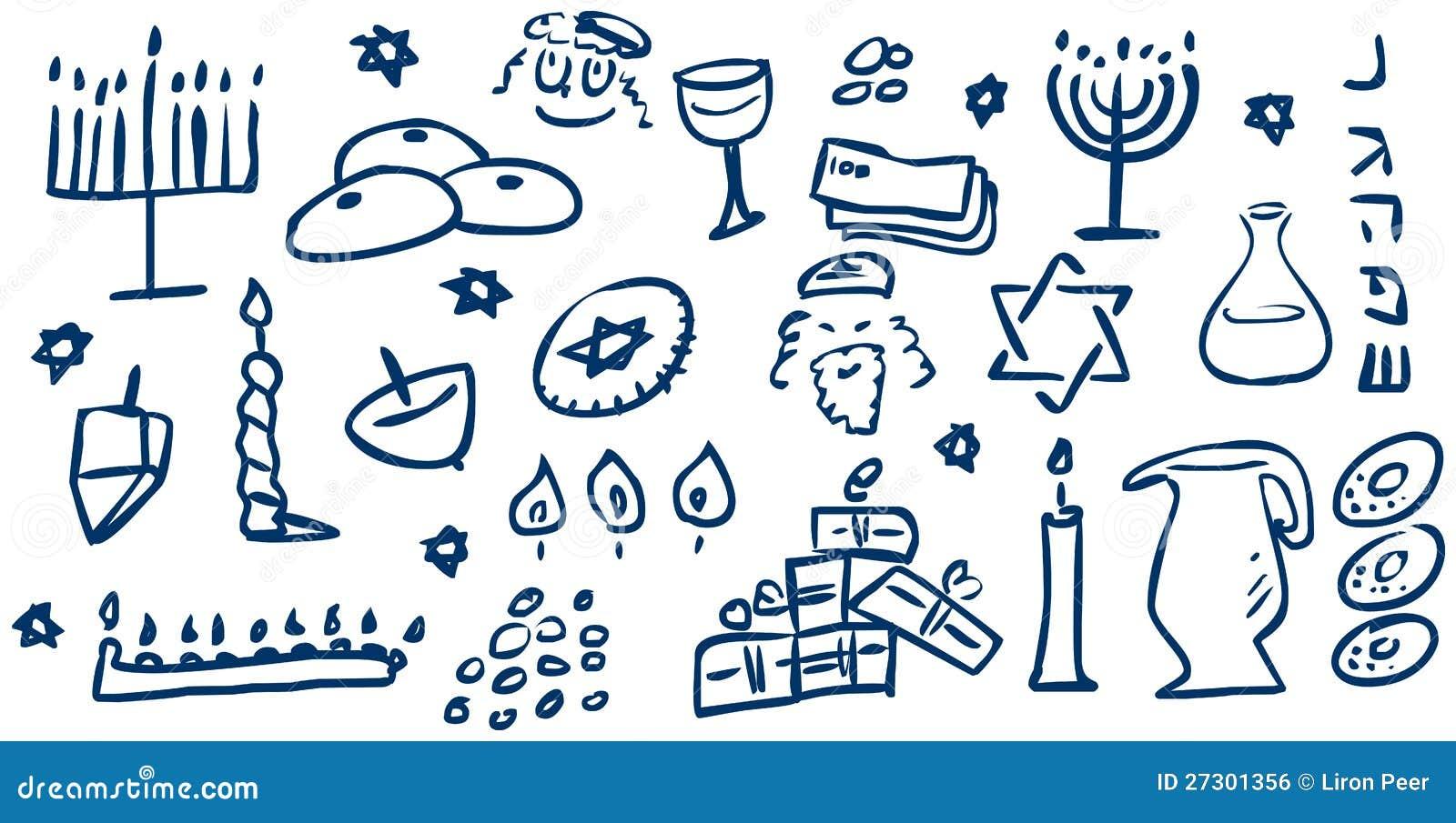 Hanukkah Symbols Doodles Stock Vector Illustration Of David 27301356