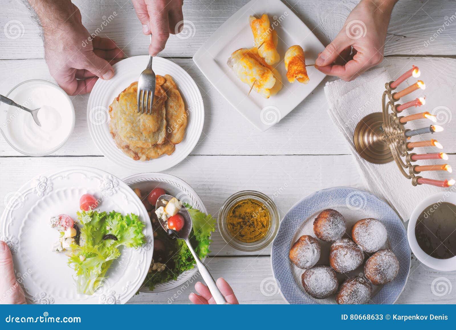 Hanukkah traditional dinner top view