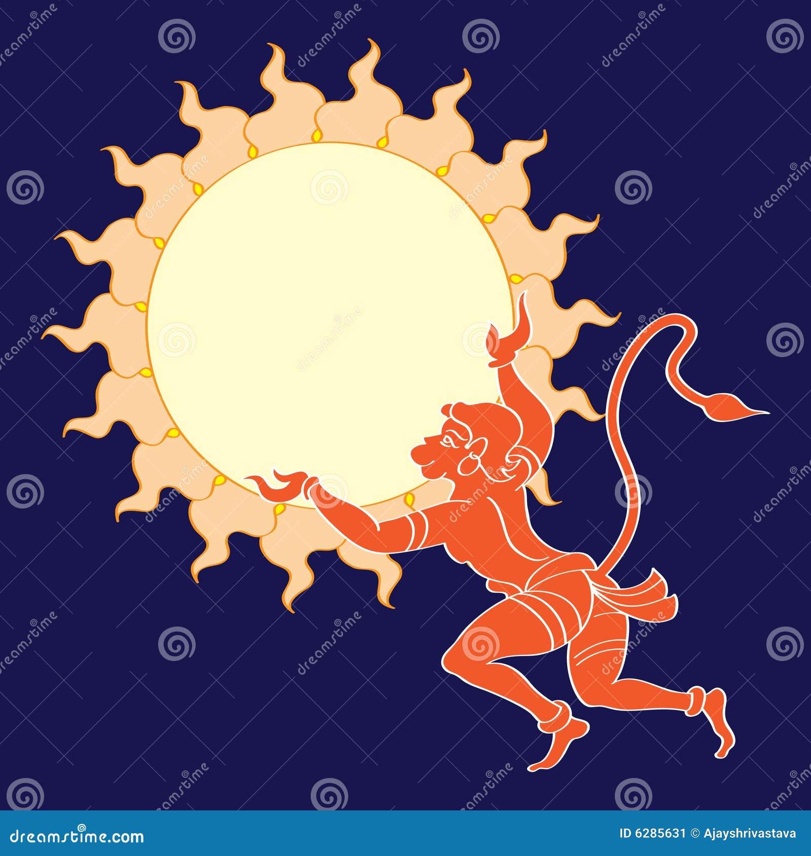 Download Hanuman The Hindu Ape (Monkey) God Stock Illustration - Illustration of hand, rama: 6285631