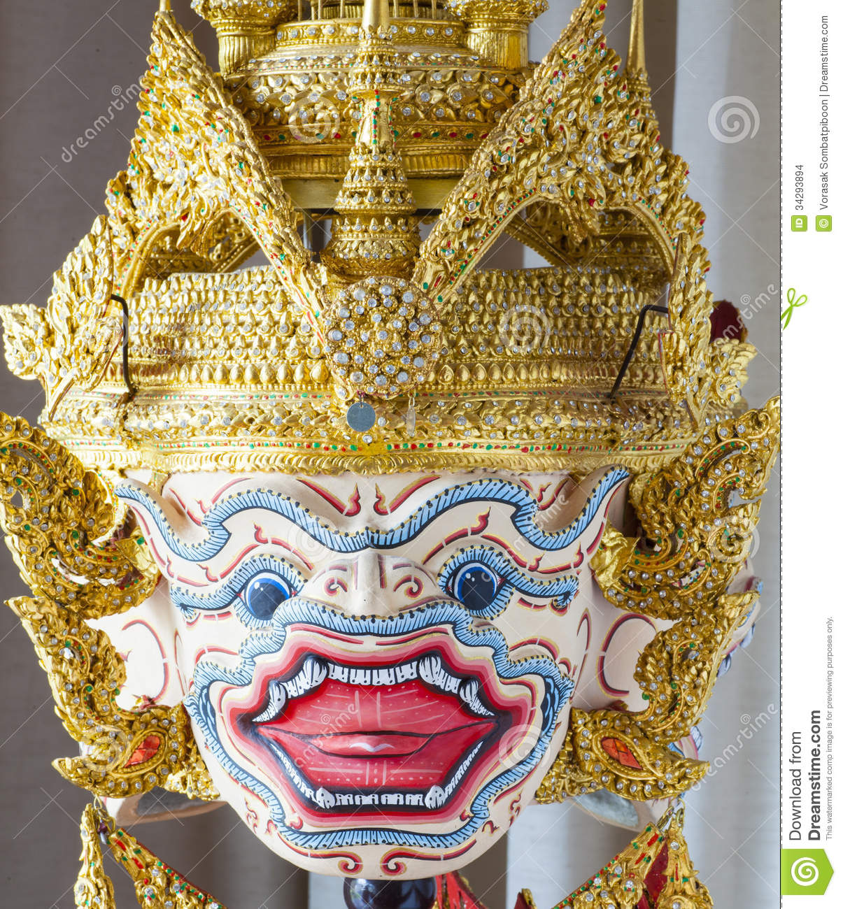 Hanuman Mask In Khon Thai Classical Style Of Ramayana Story