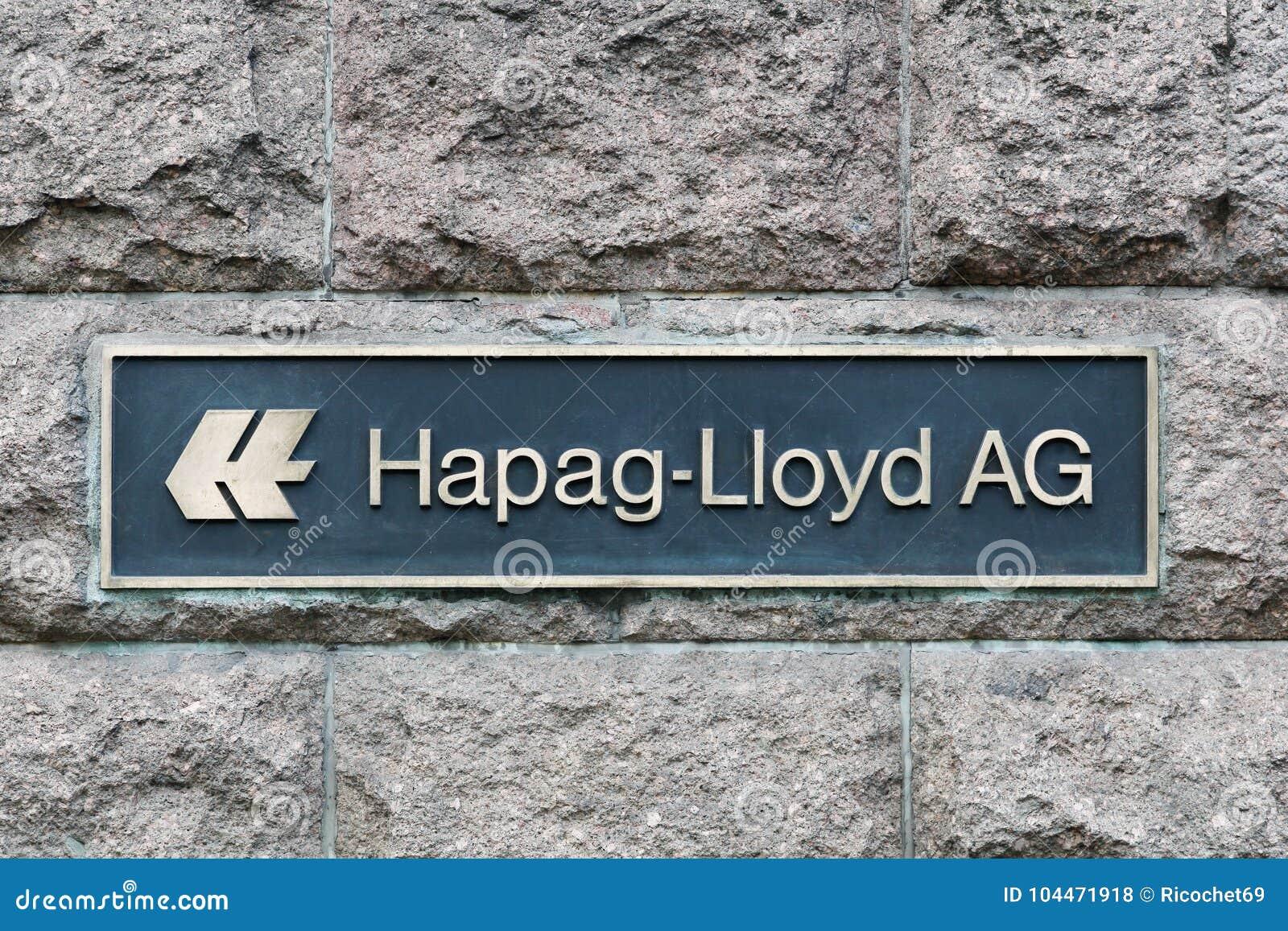 Hapag Lloyd logo på en vägg