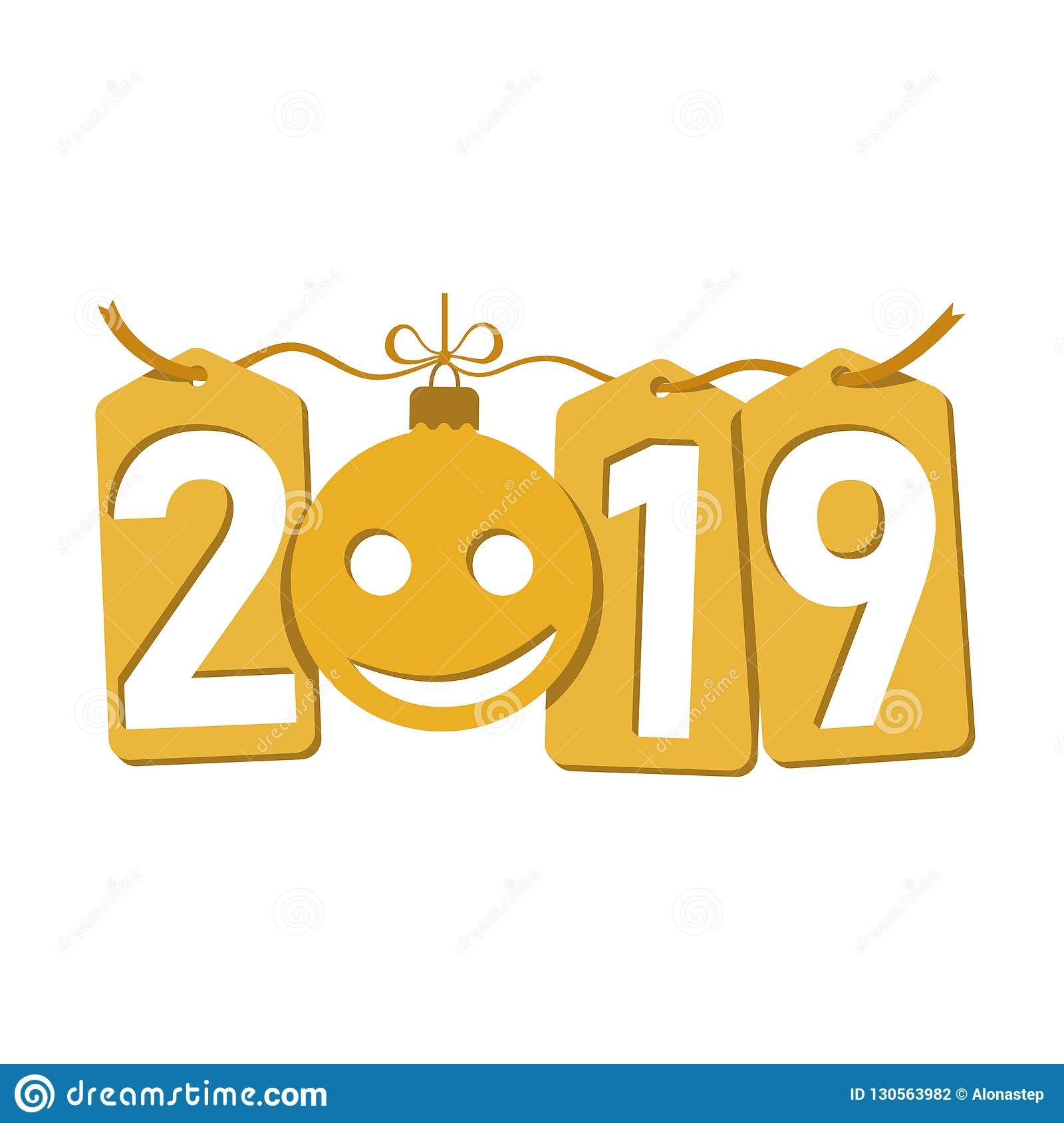 happe new year gold background isolated 2019 golden numbers tags bauble emoticon