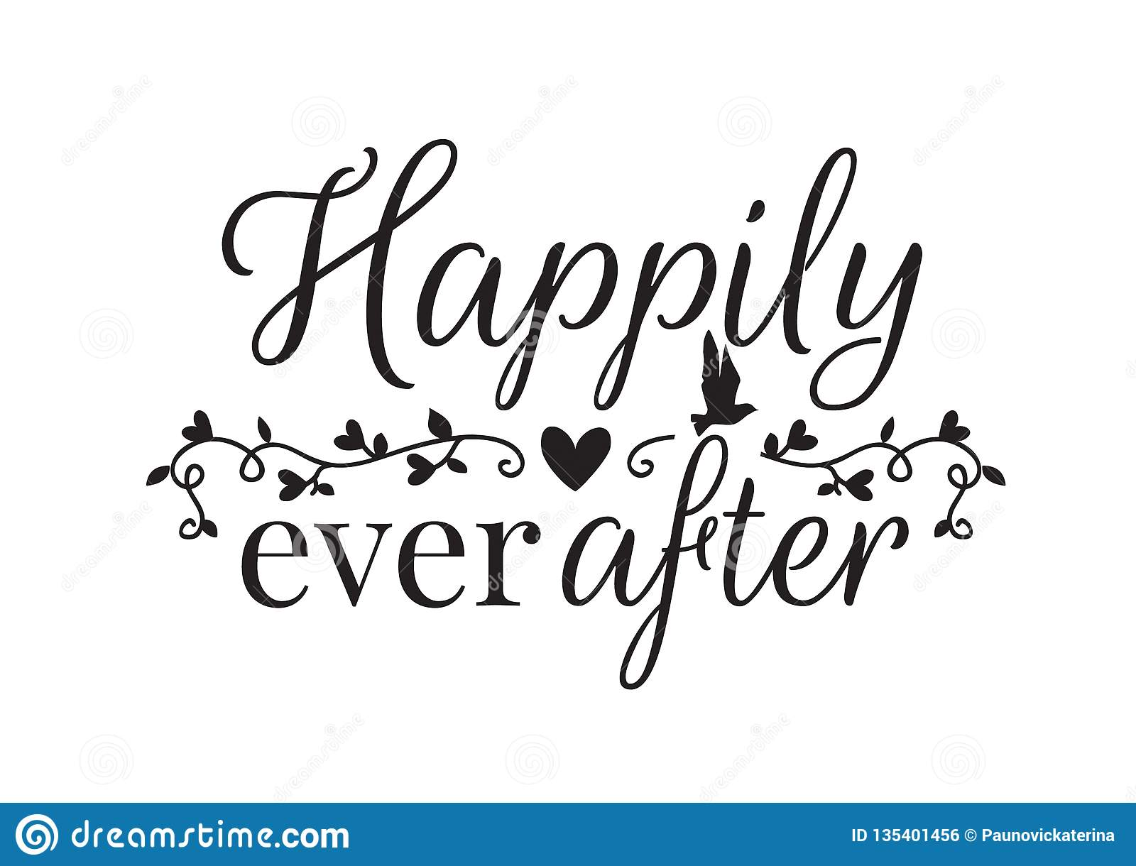 Wall Decals Happily Ever After Wording Design Stock Vector Illustration Of Flying Shirt 135401456
